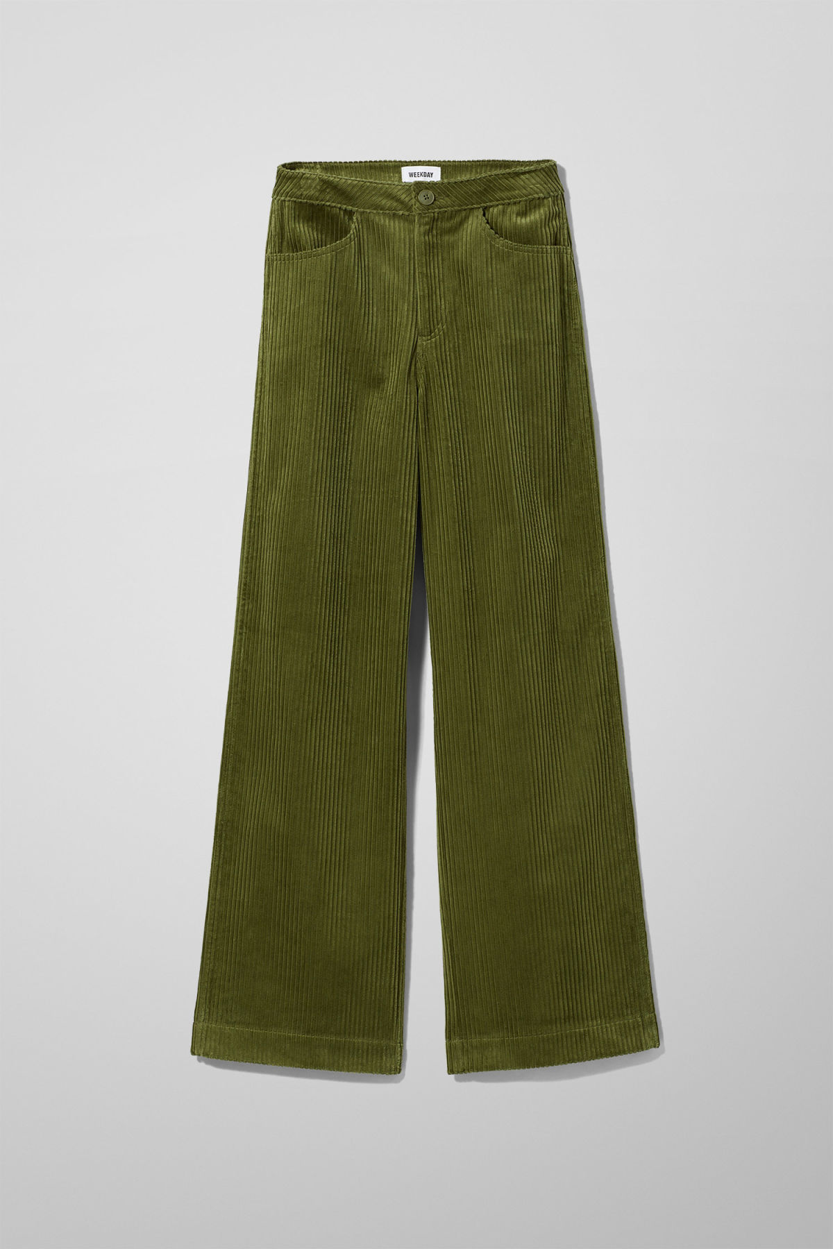 Front image of Weekday livia trousers in green