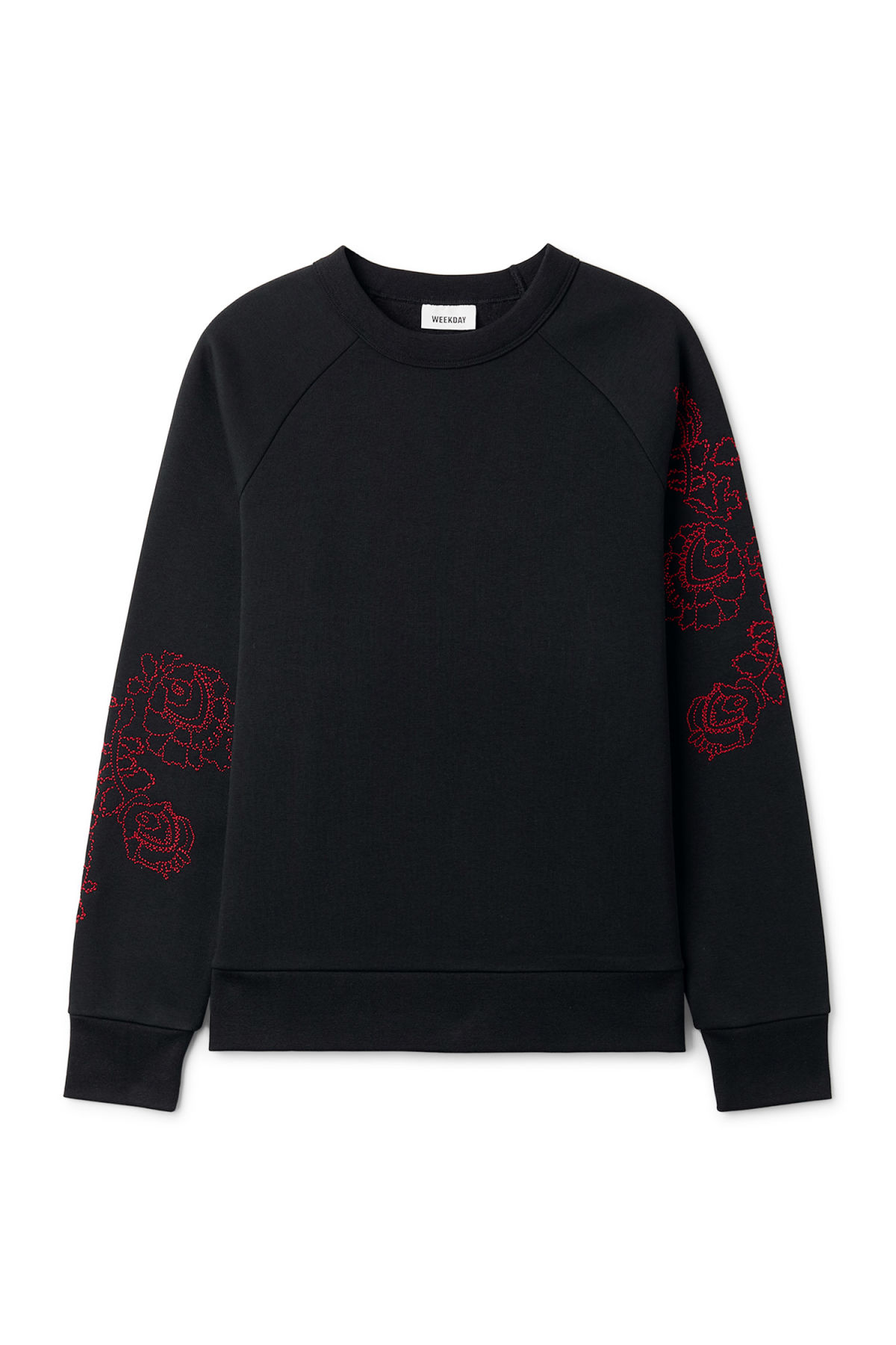 Front image of Weekday jaxon  wild rose sweatshirt in black