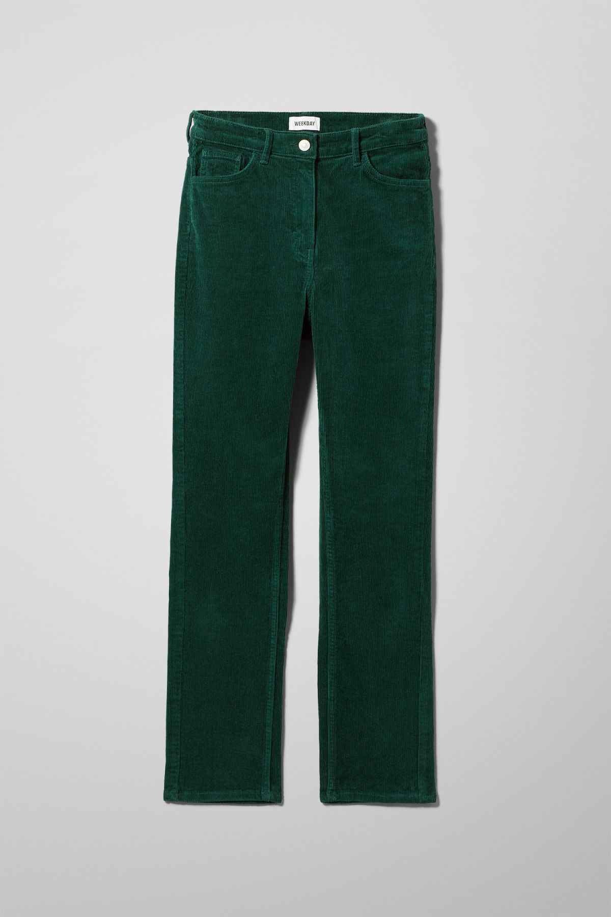 Front image of Weekday eve cord trousers in green