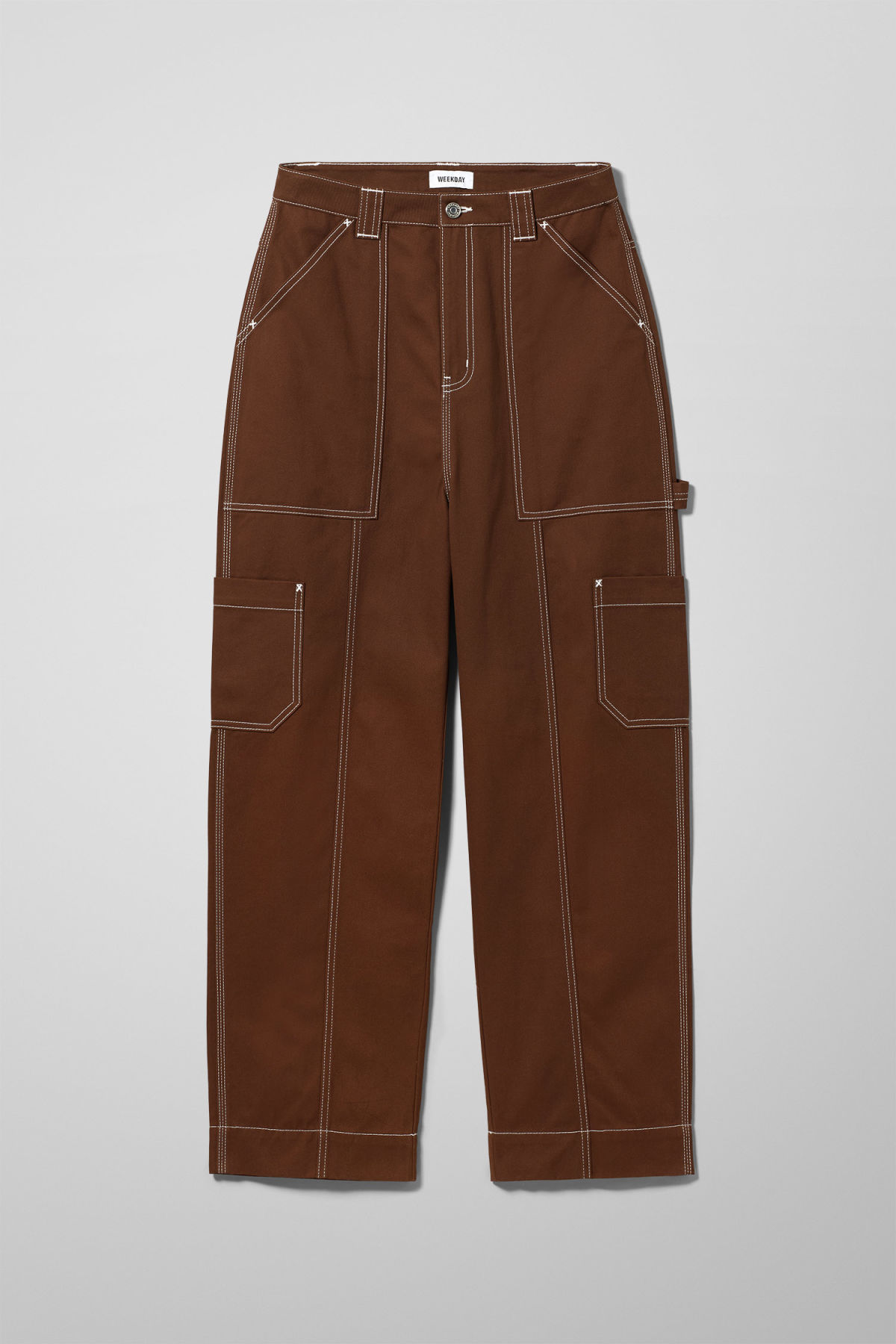 Front image of Weekday grow trousers in beige
