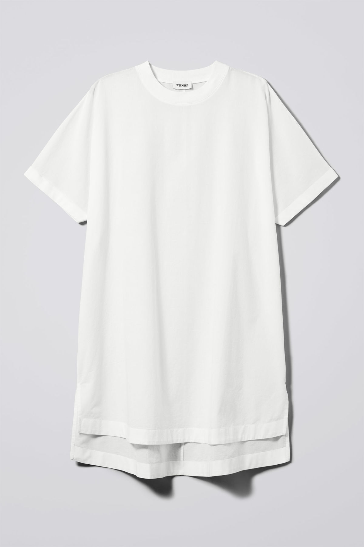 Front image of Weekday lombard t-shirt dress in white