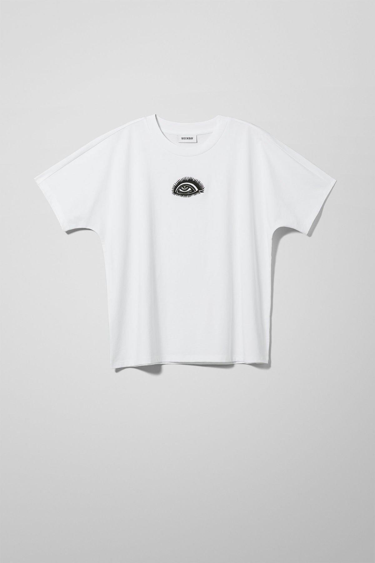 Front image of Weekday vitrine t-shirt in white