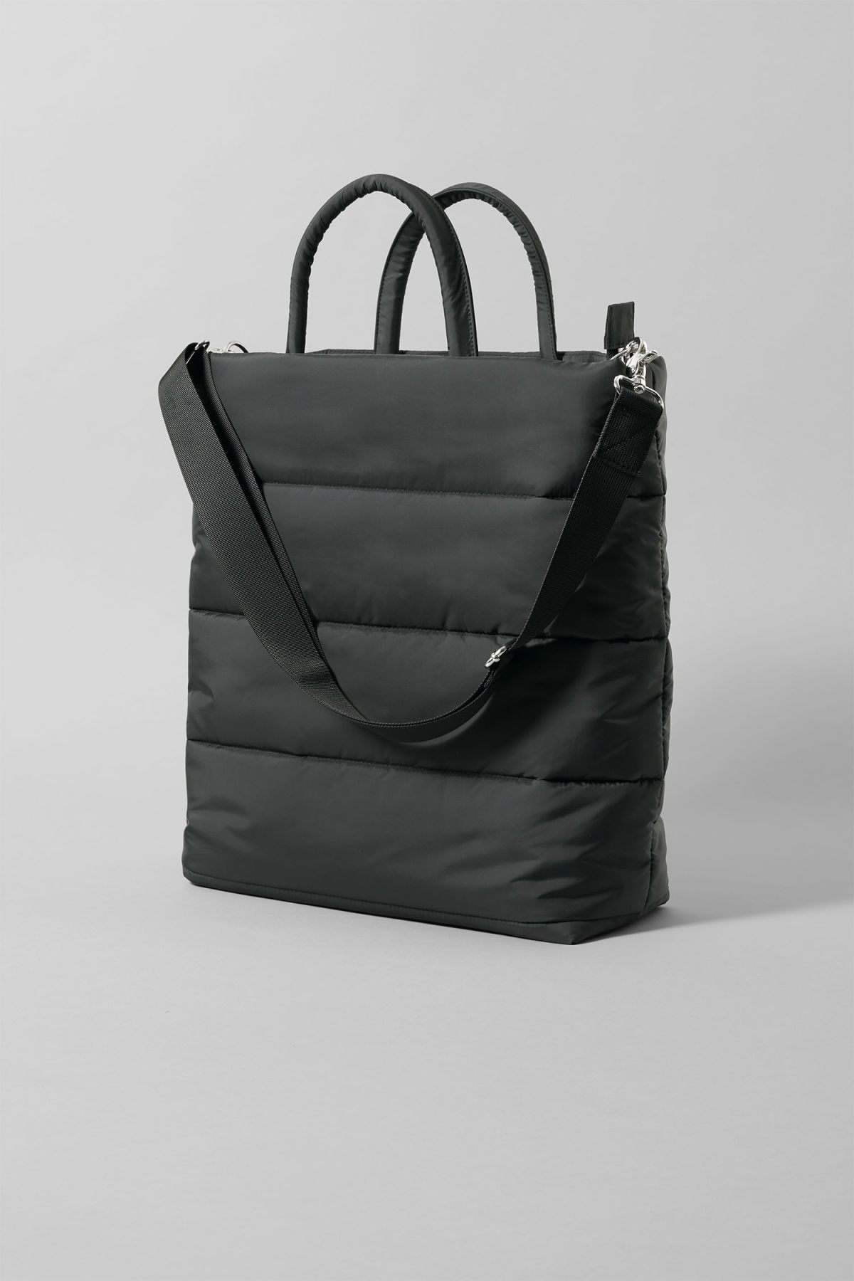 Front image of Weekday puff tote in black