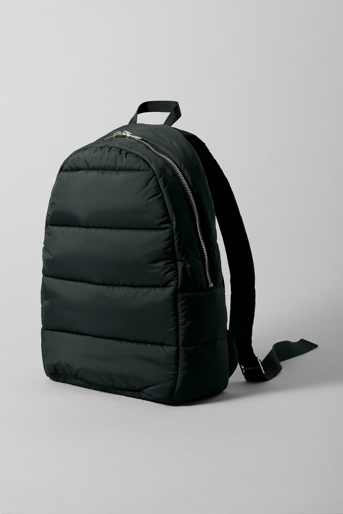 Front image of Weekday puff backpack in black