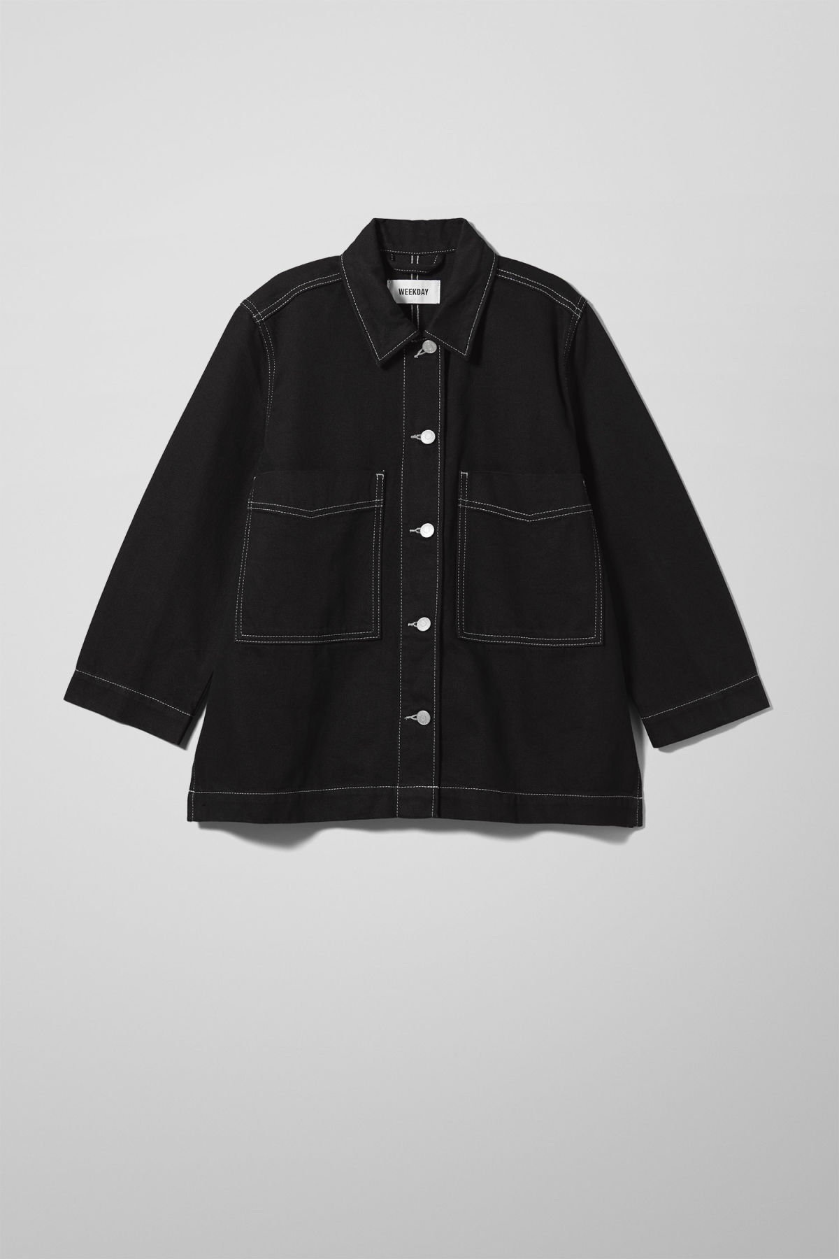 Front image of Weekday trip black denim jacket in black