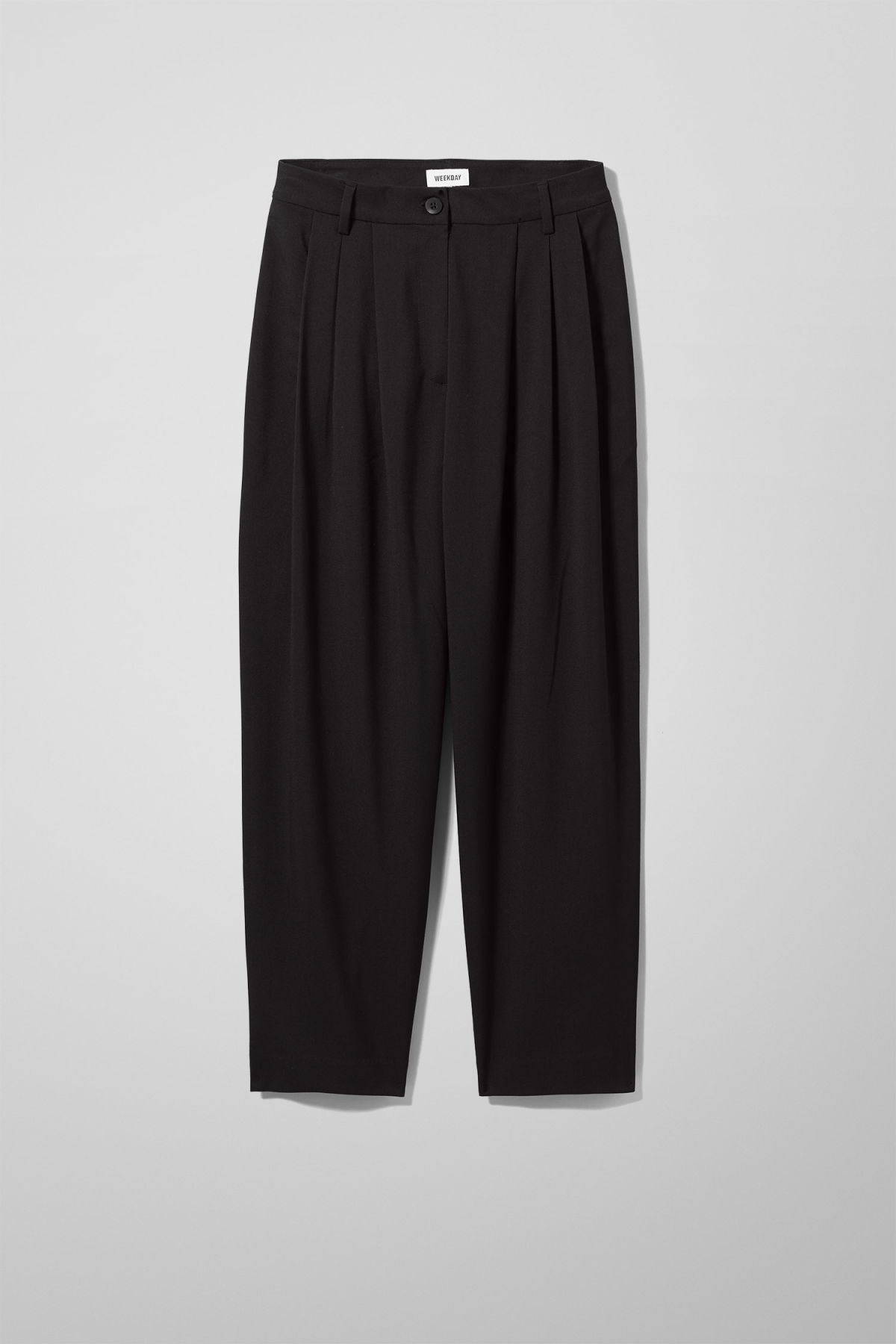 Front image of Weekday milly pleat trousers in black
