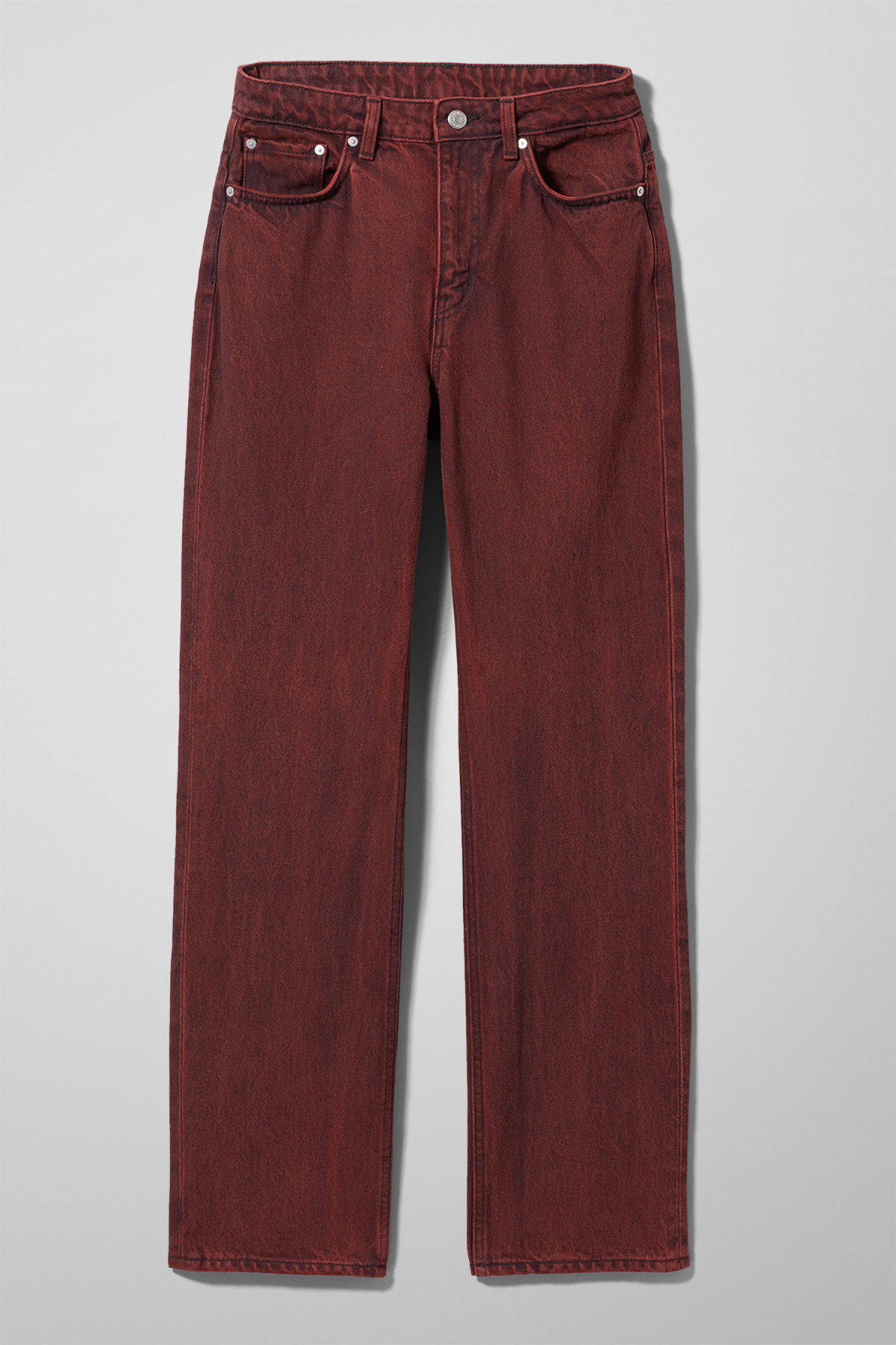 Front image of Weekday voyage rosewood jeans in red