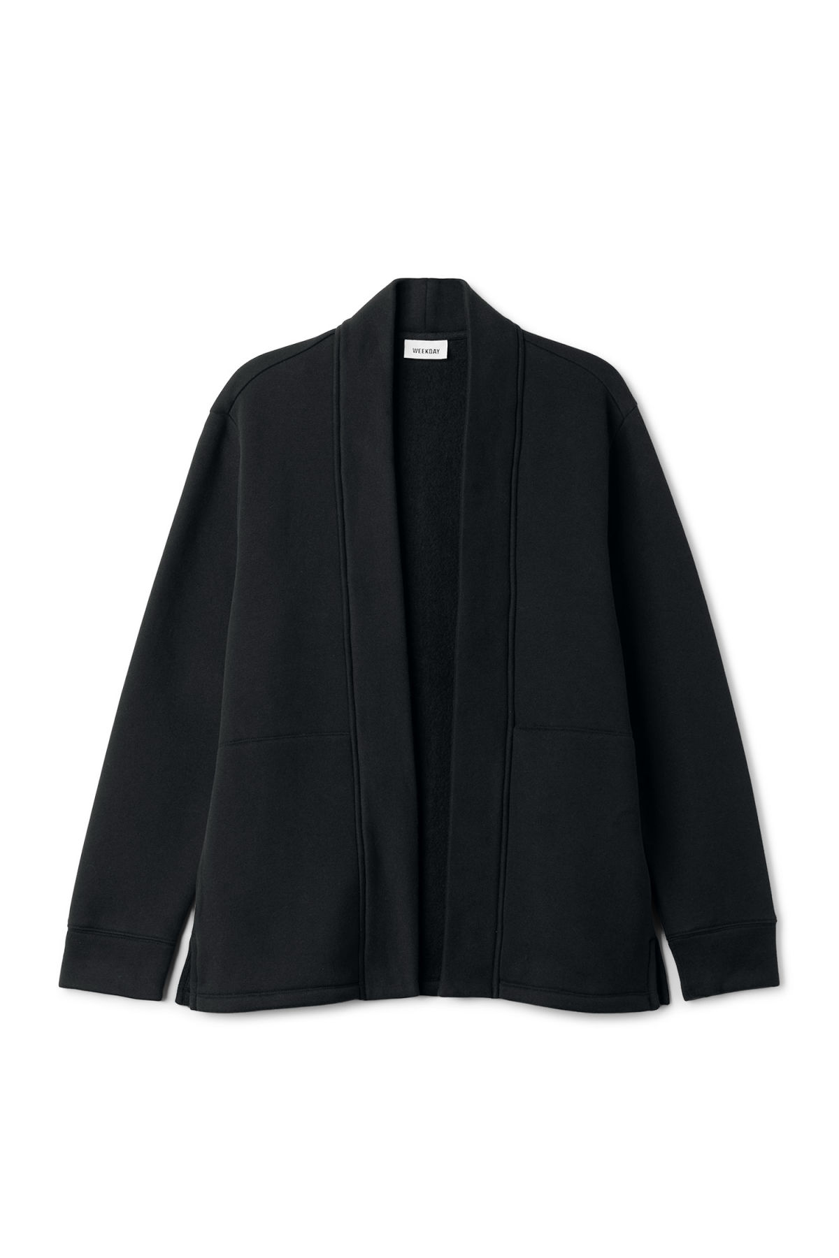 Front image of Weekday coin cardigan in black