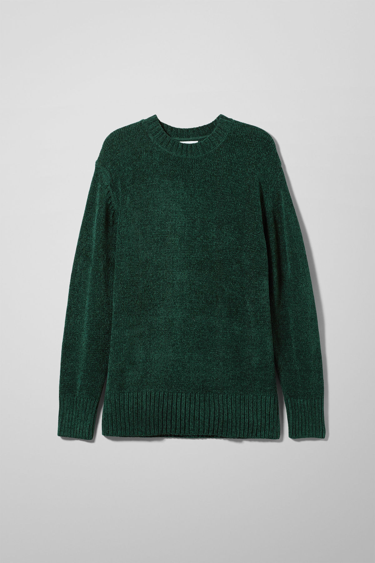 Front image of Weekday chenille sweater in green