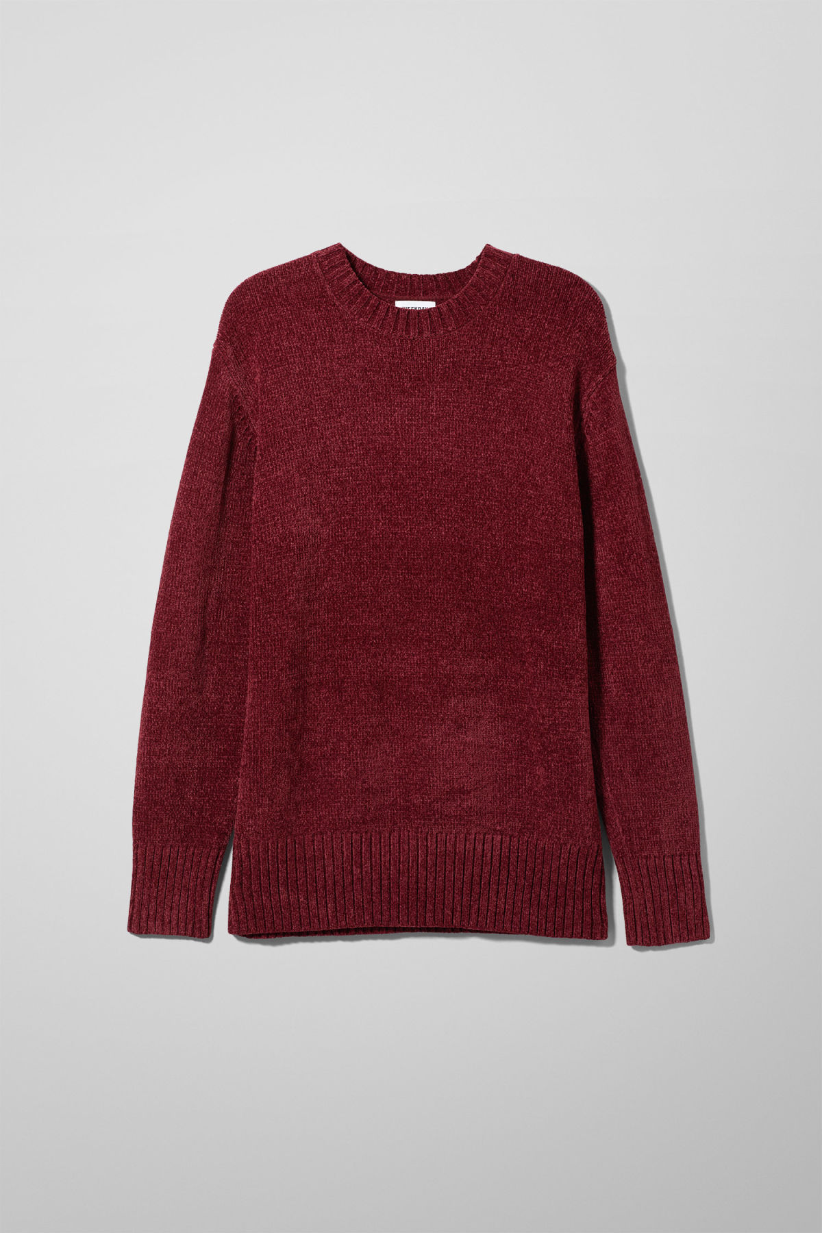 Front image of Weekday chenille sweater in red