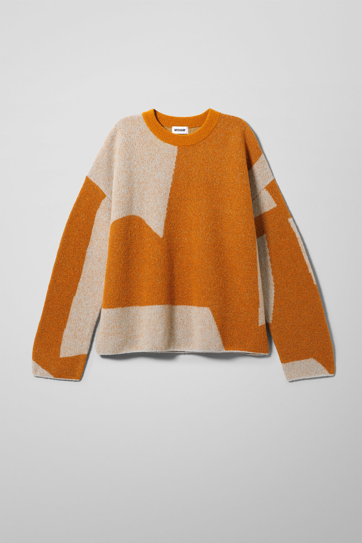 Front image of Weekday cloe jacquard sweater in orange