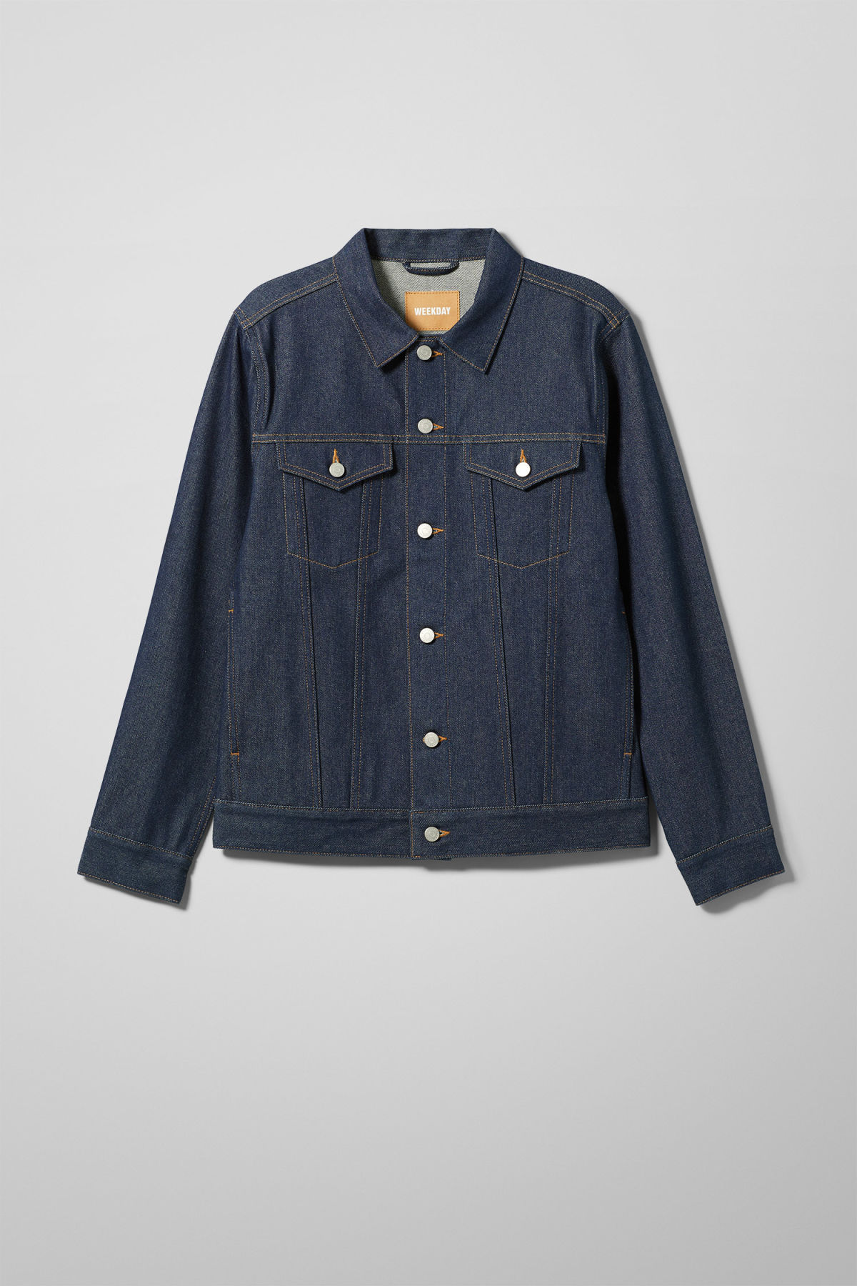Front image of Weekday single unwashed jacket in blue