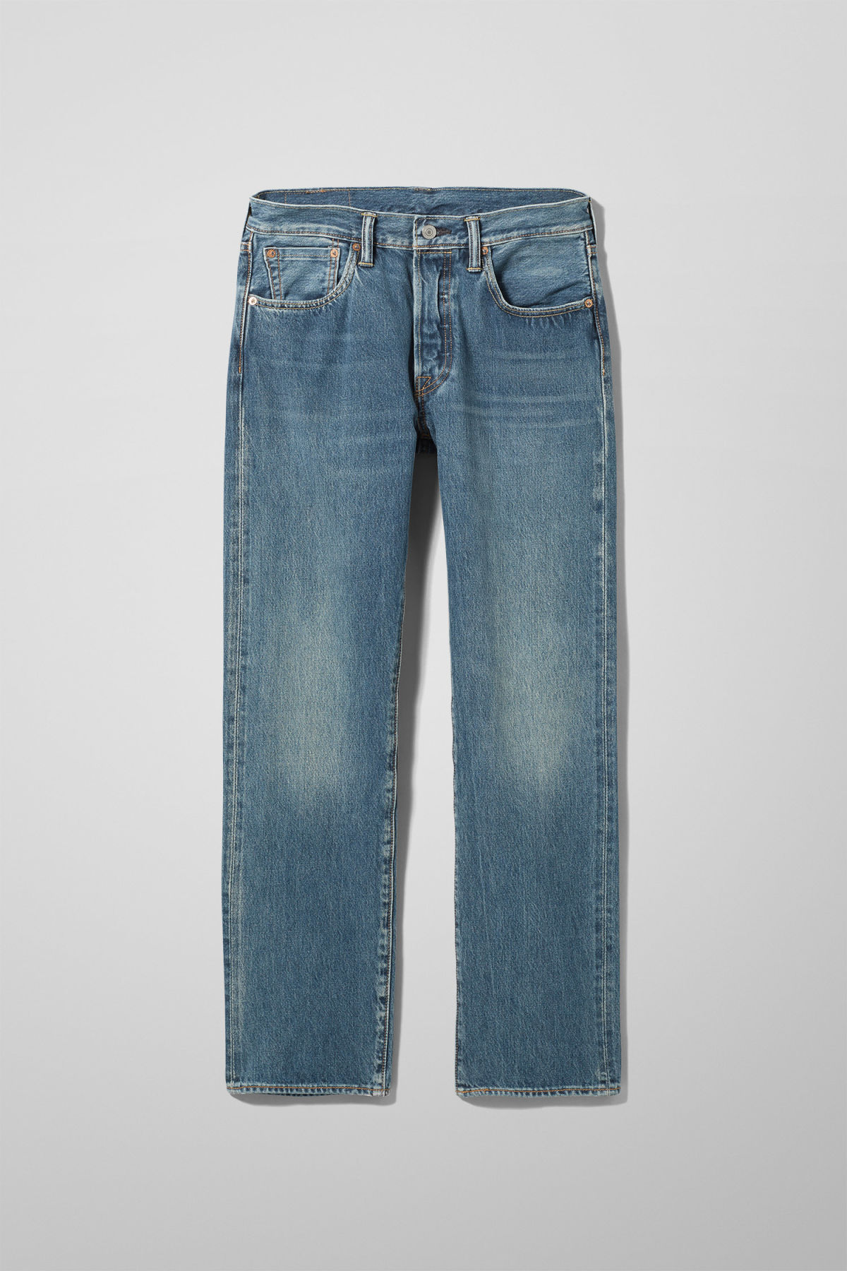 Front image of Weekday 501 original electric ave jeans in blue