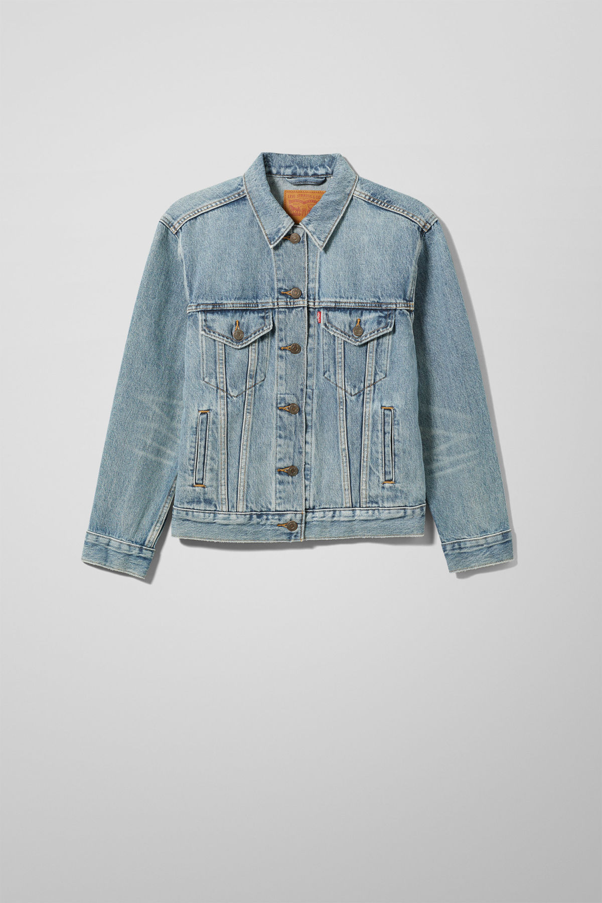 Front image of Weekday ex-boyfriend trucker jacket in blue