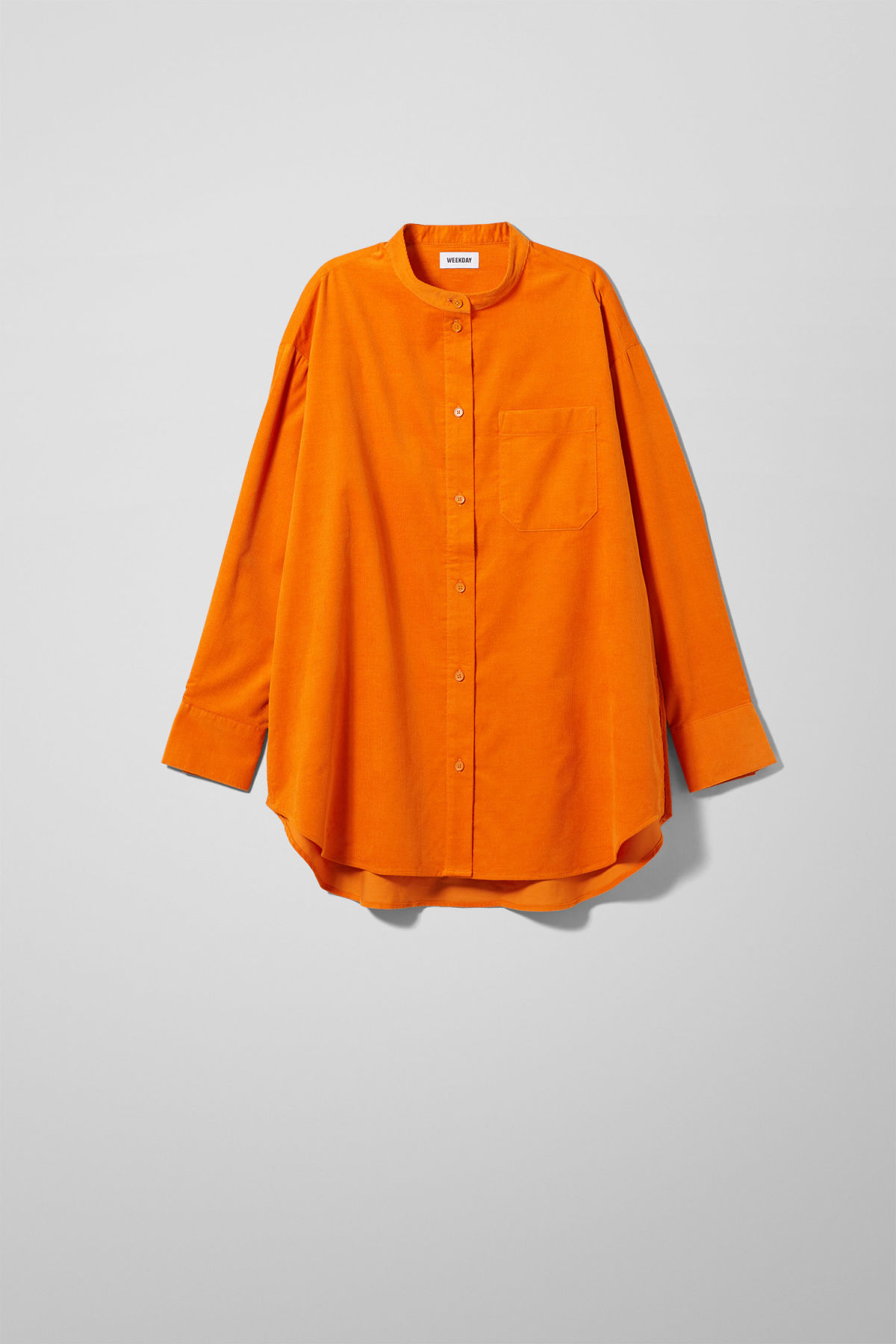 Front image of Weekday dakota cord shirt in orange