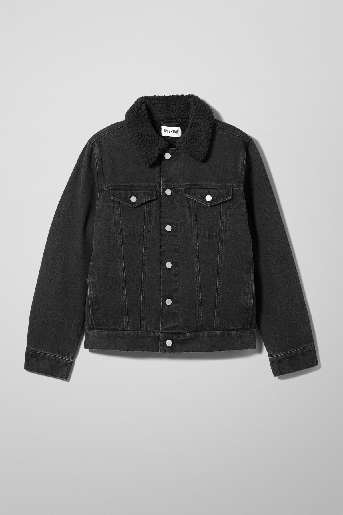 Front image of Weekday single black pile jacket  in black