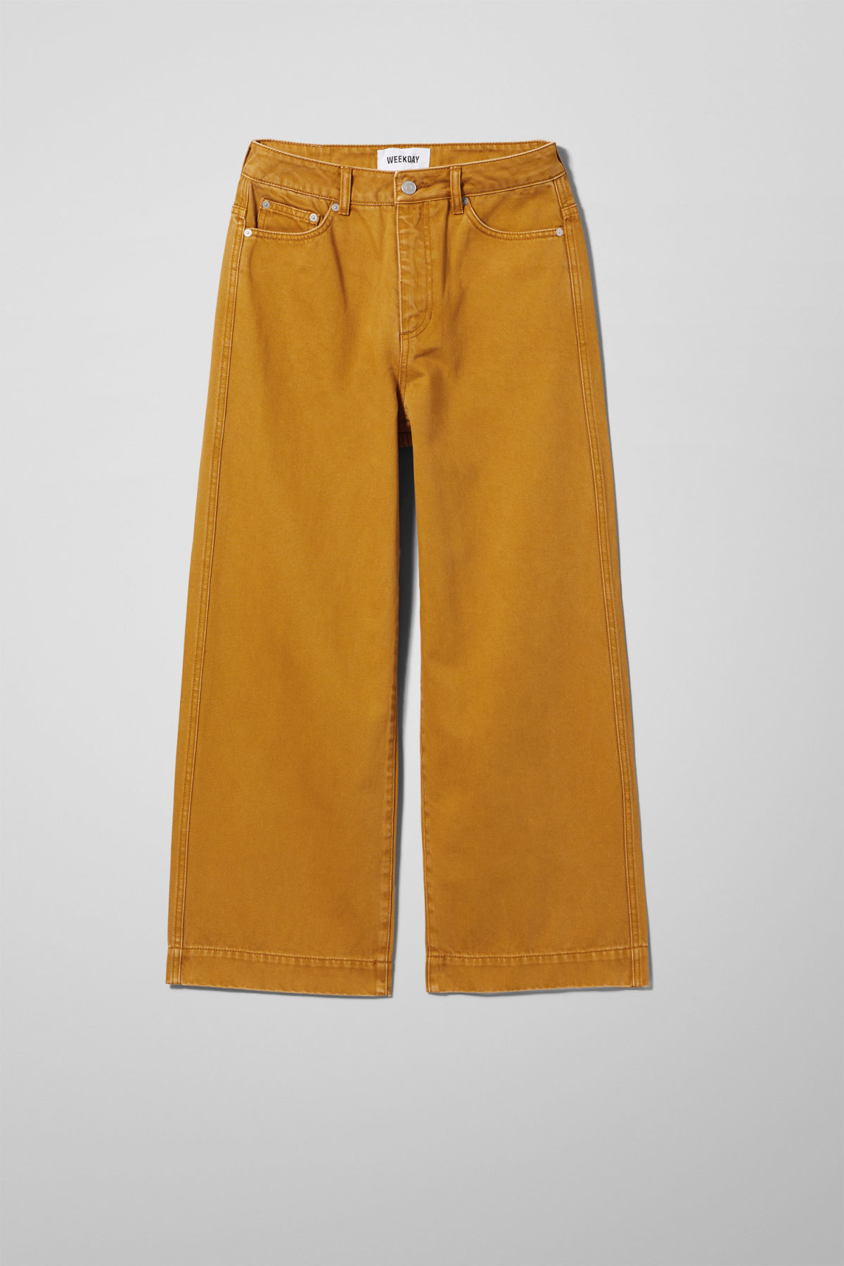 Front image of Weekday veer occra jeans in yellow