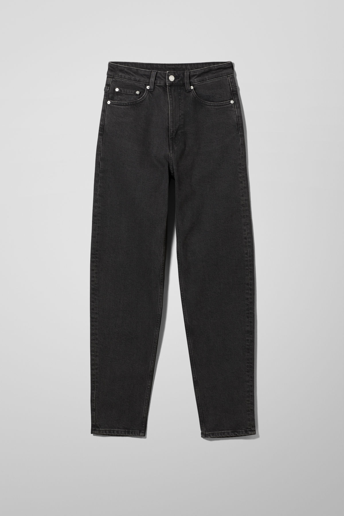 Stillife Front Image of Weekday Lash Extra High Mom Jeans in Black