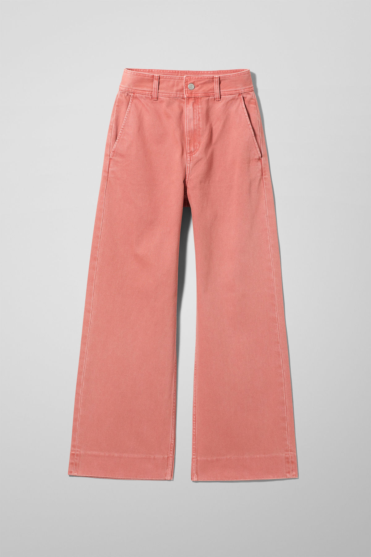 Front image of Weekday core rose denim trousers in orange