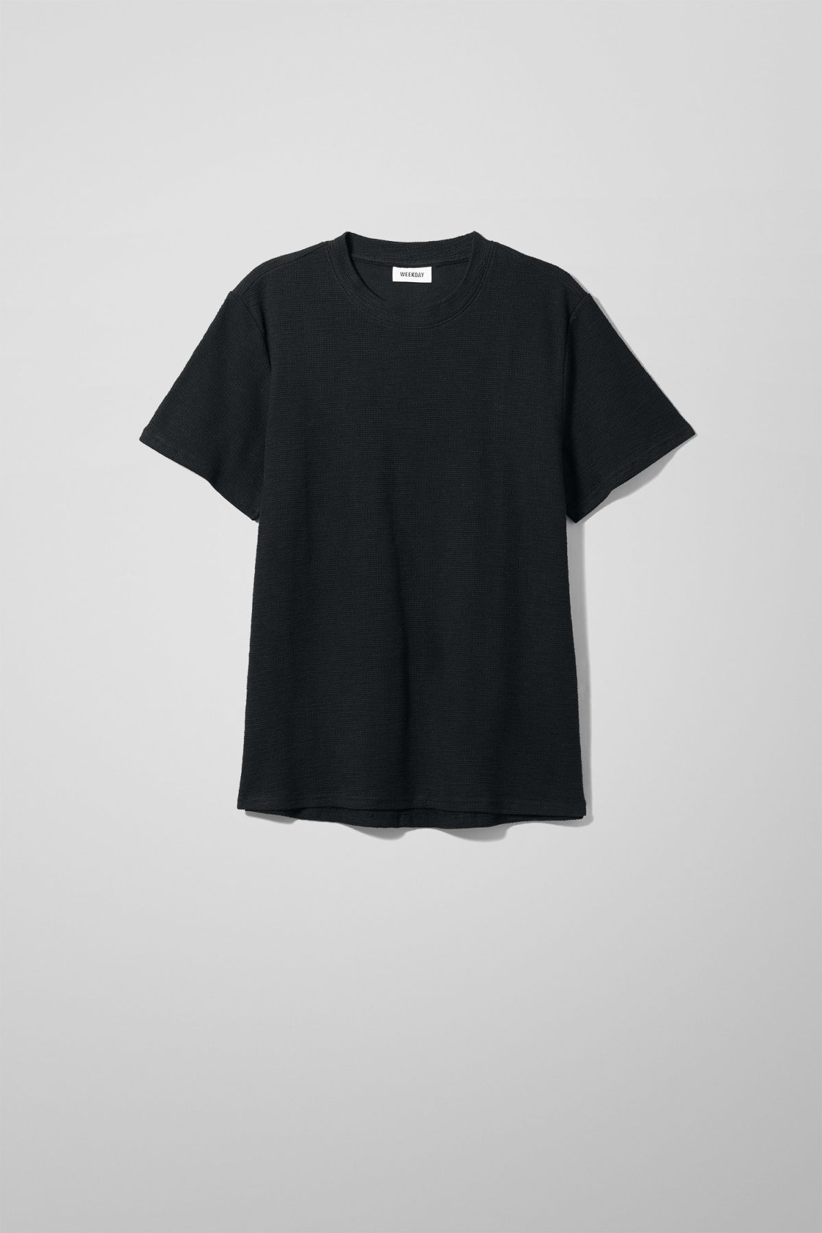 Front image of Weekday bob structured t-shirt in black