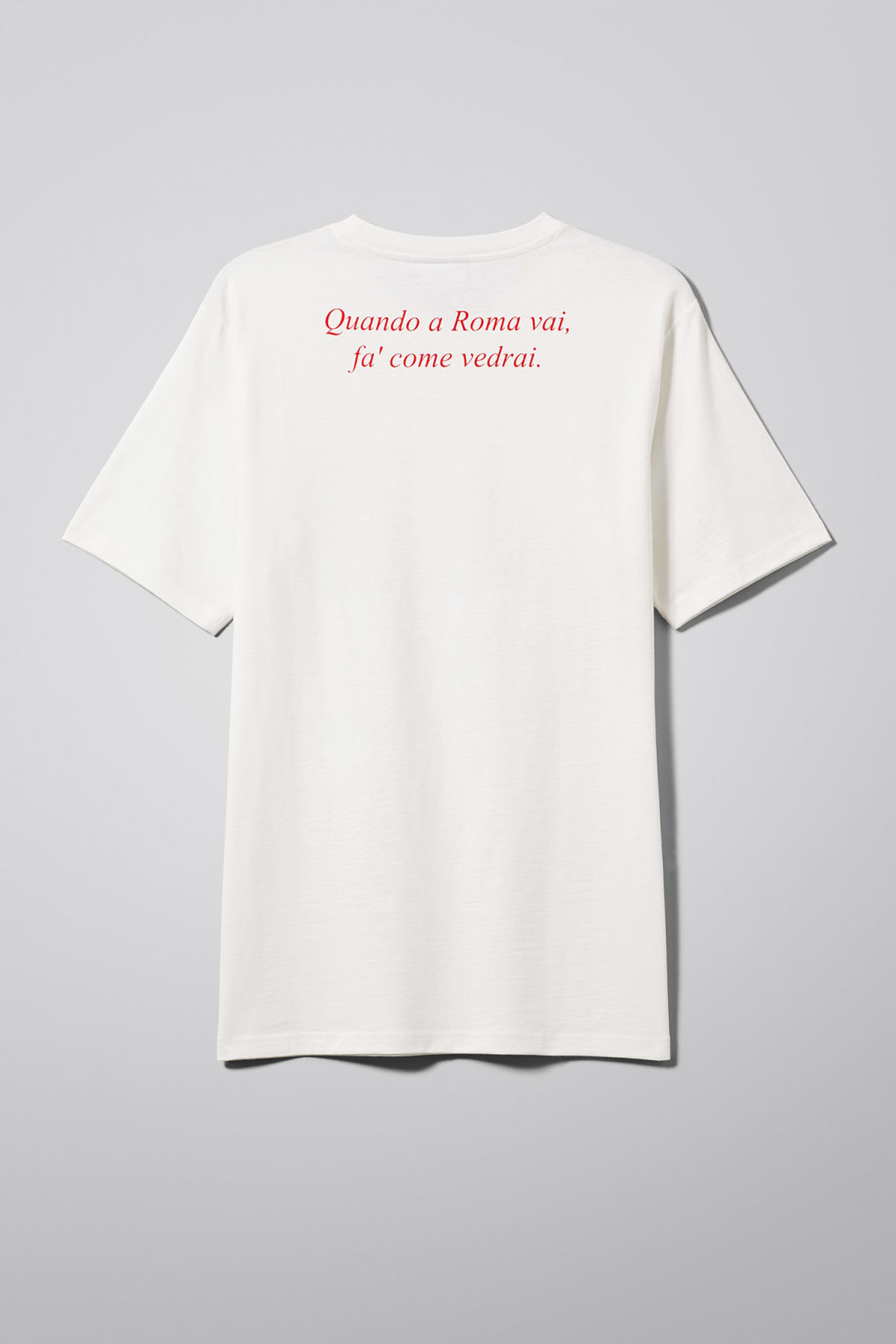 Back image of Weekday frank proverb t-shirt in white