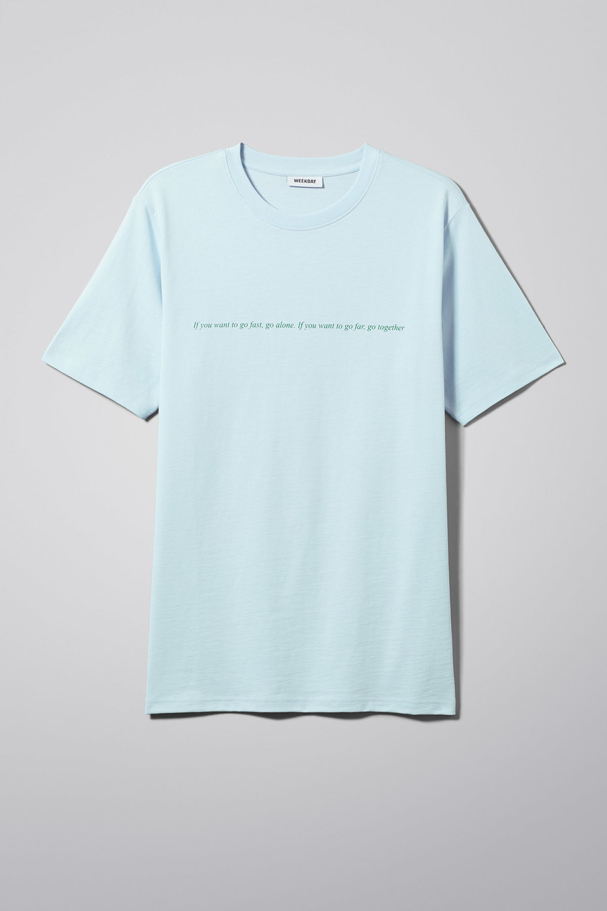 Front image of Weekday frank proverb t-shirt in blue
