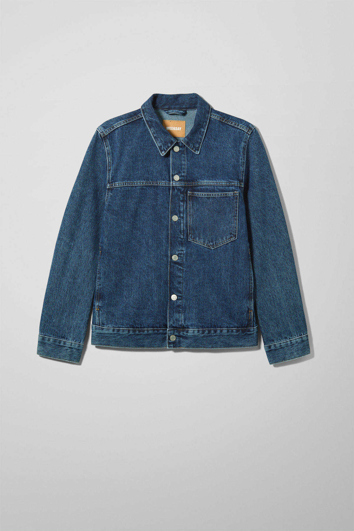 Front image of Weekday core storm blue denim jacket in blue