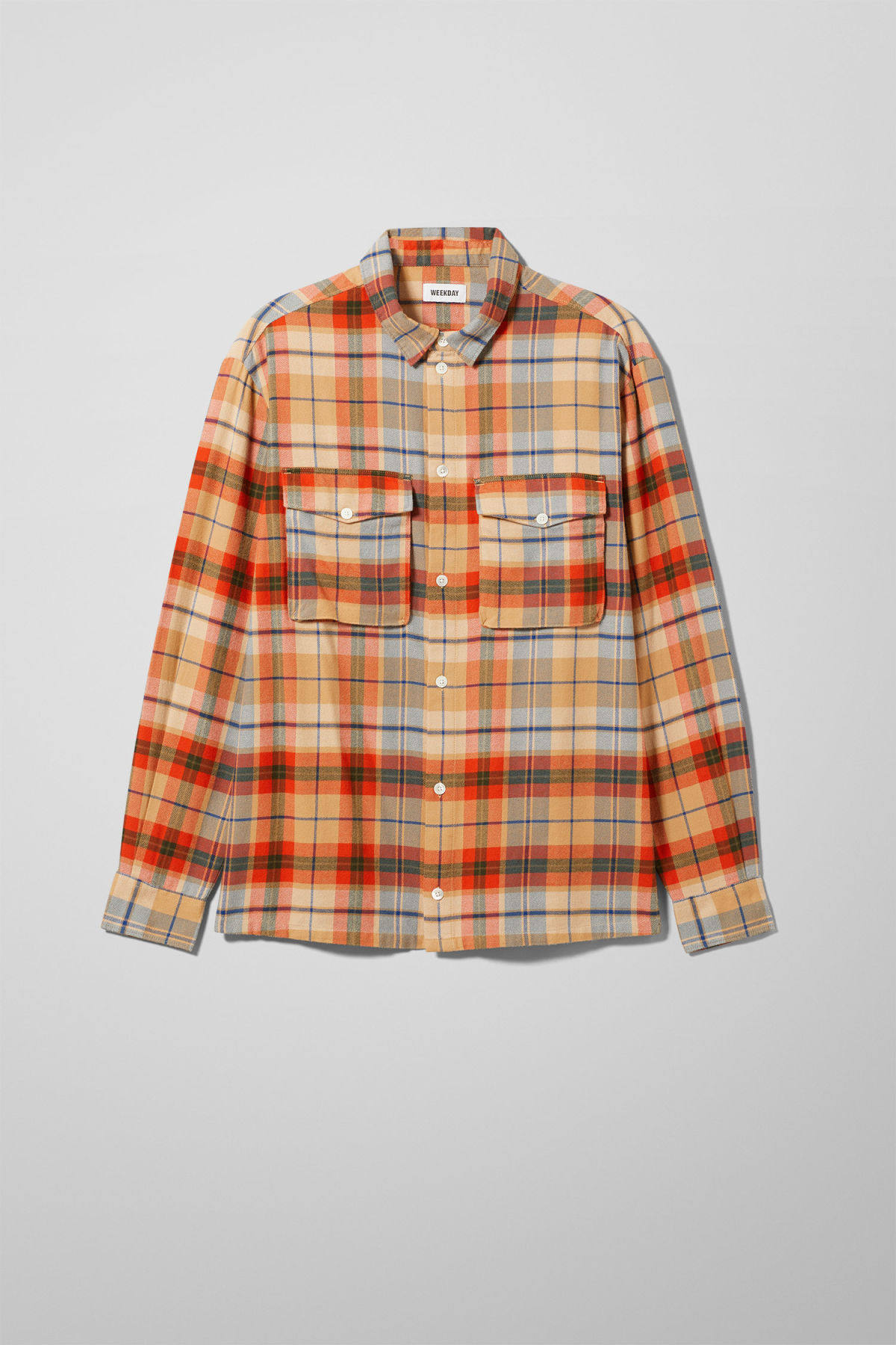 Front image of Weekday kula checked shirt in beige