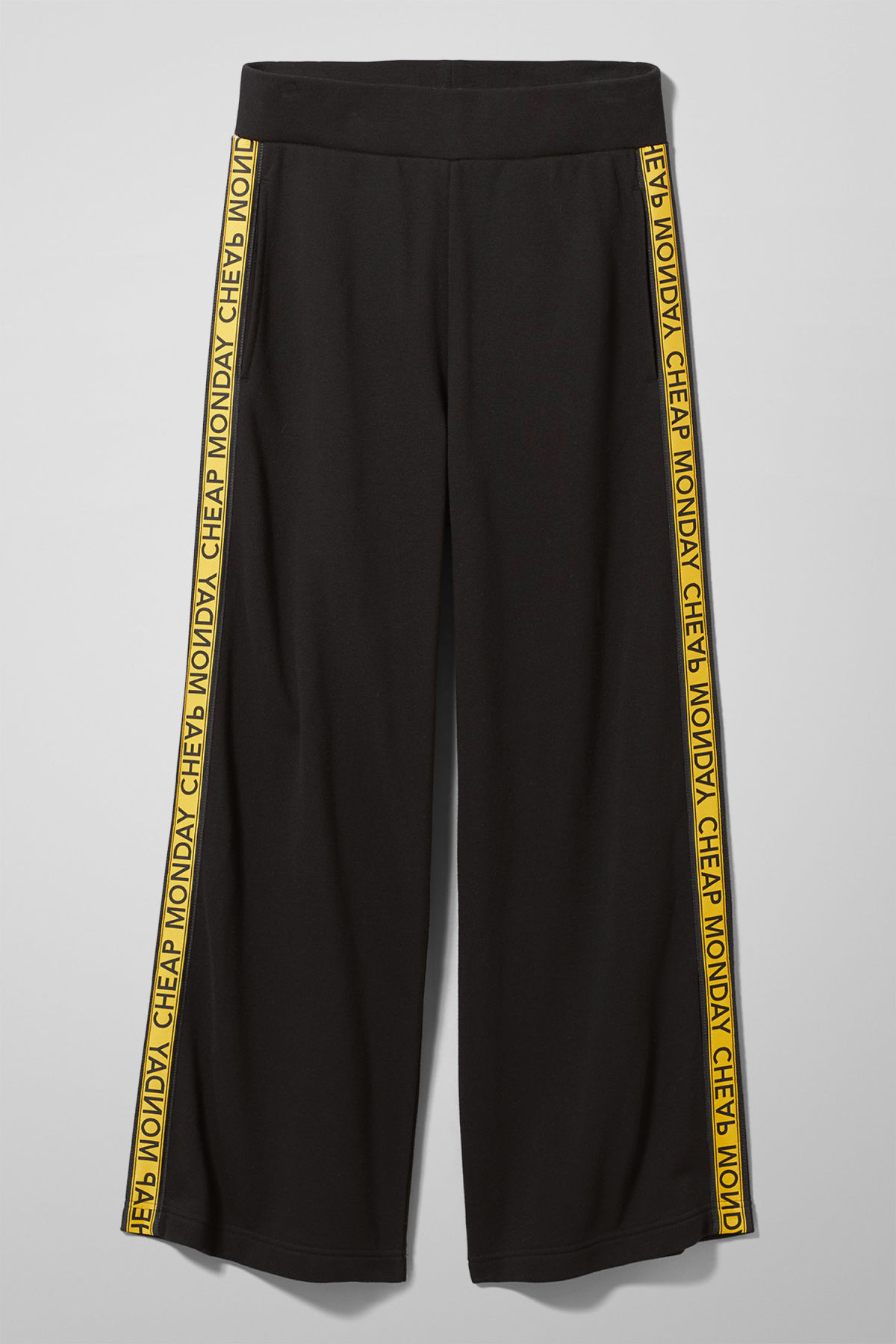 Front image of Weekday margin trousers in black