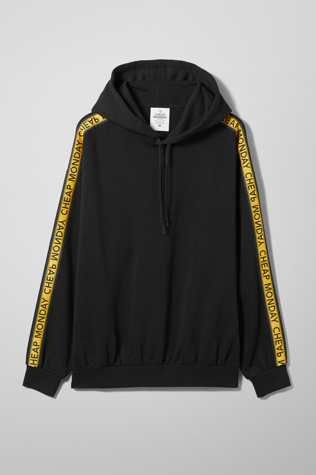 Front image of Weekday goal logo hoodie in black