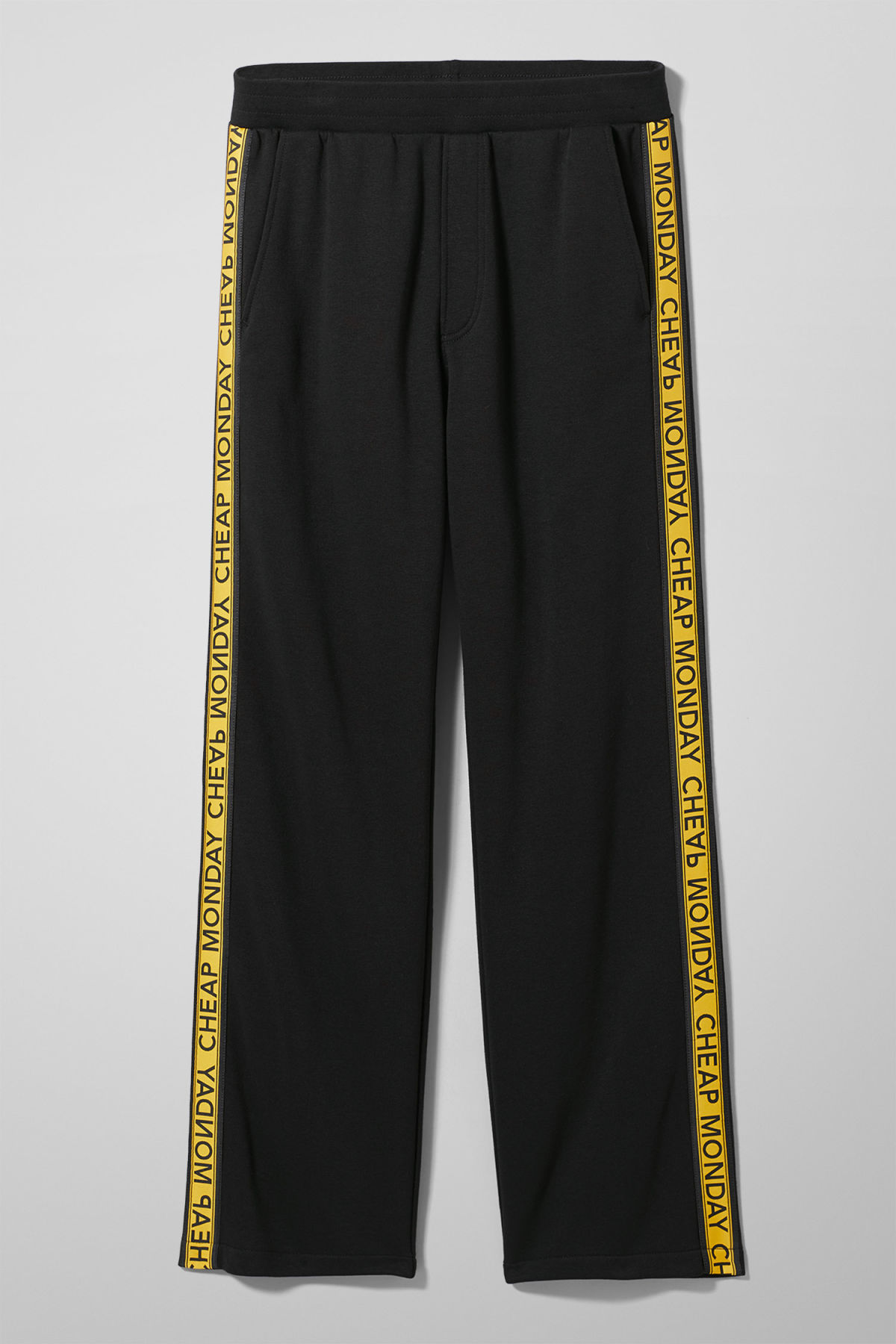 Front image of Weekday fast logo trousers in black