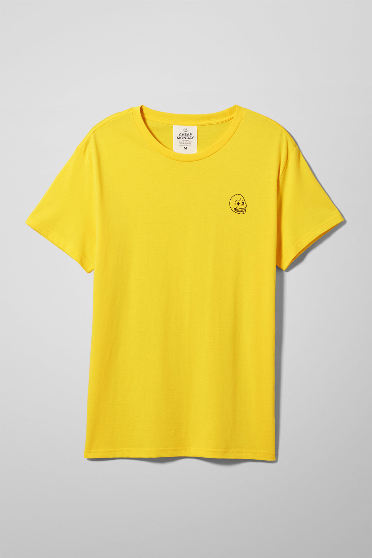 Front image of Weekday standard tiny skull t-shirt  in yellow