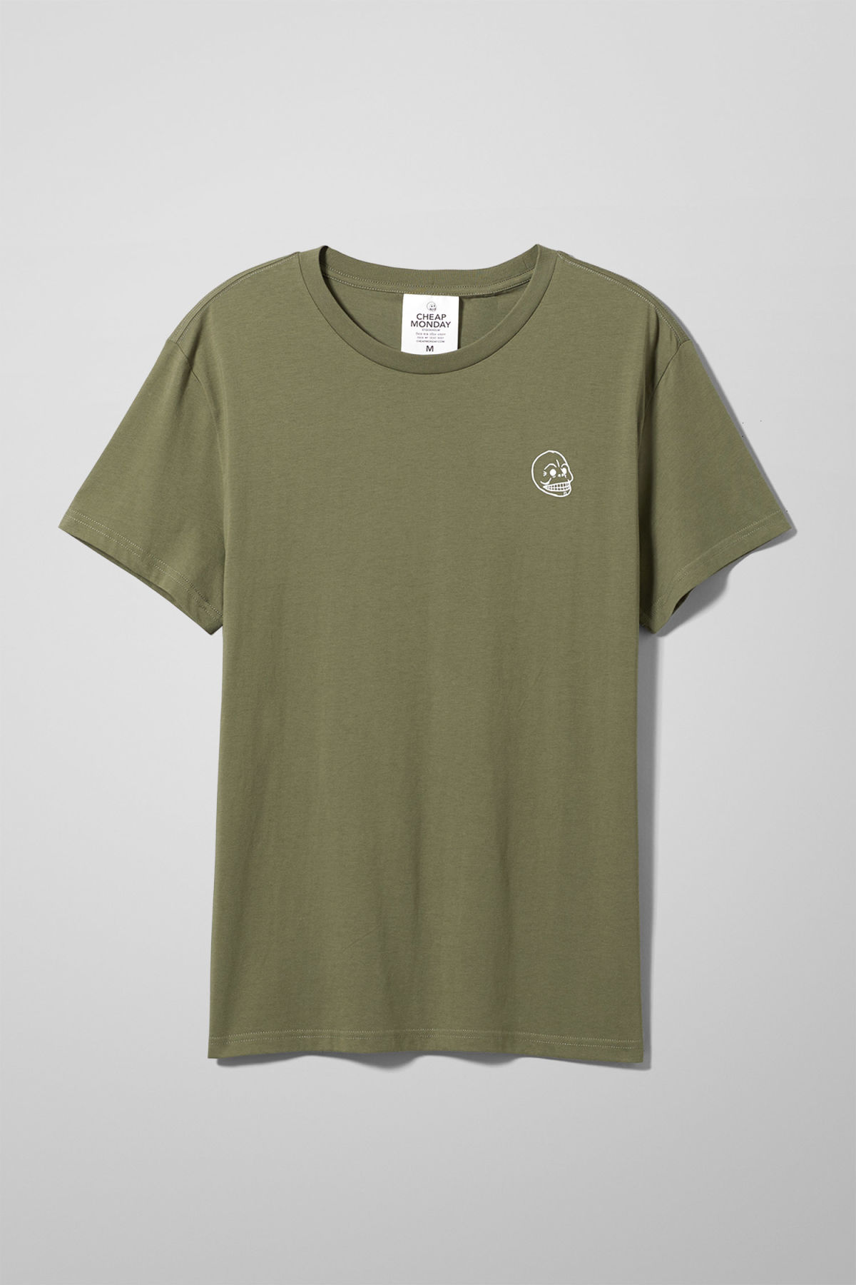 Front image of Weekday standard tiny skull t-shirt  in green