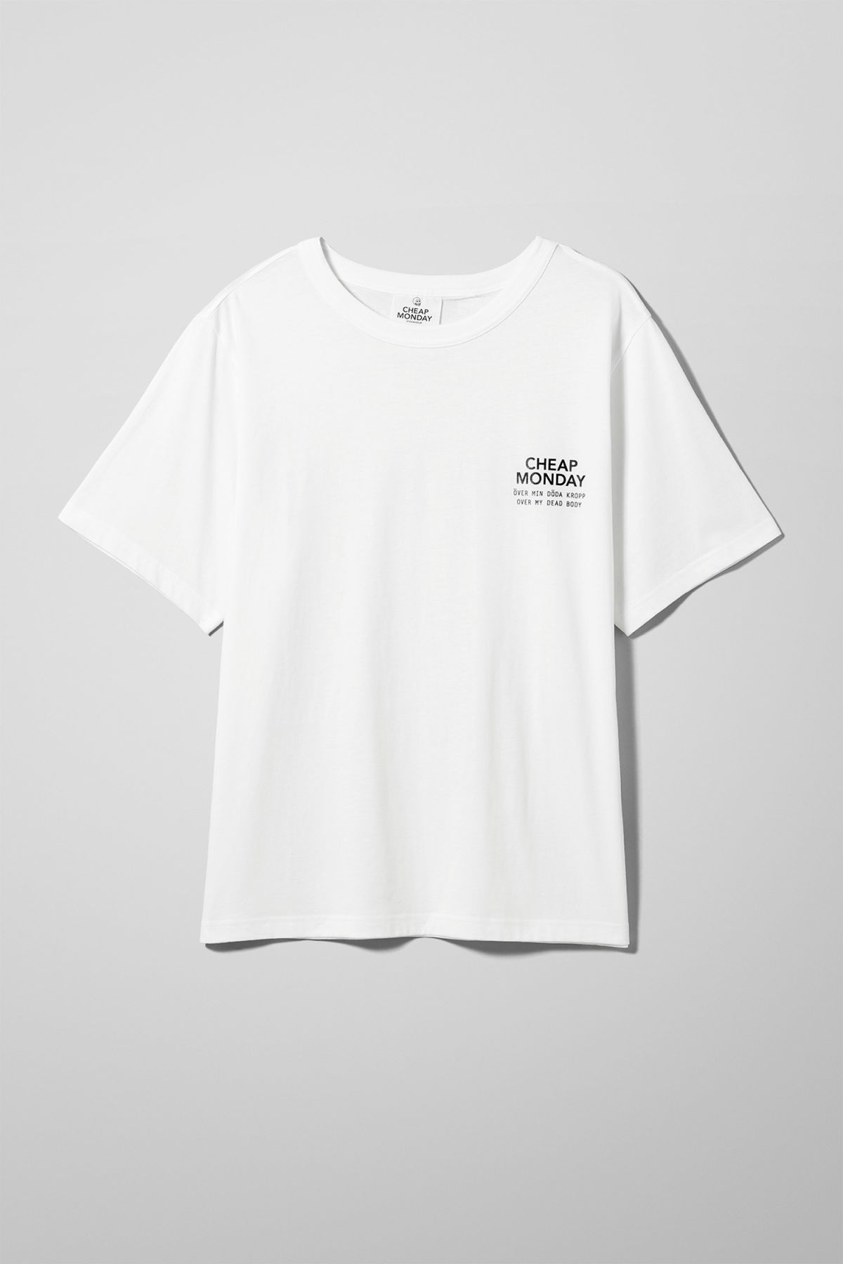 Front image of Weekday boxer sender tee in white