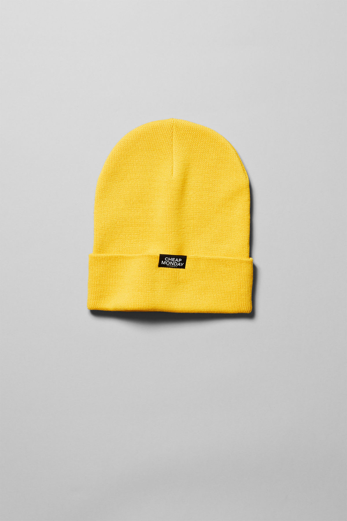 Front image of Weekday cheap beanie in yellow