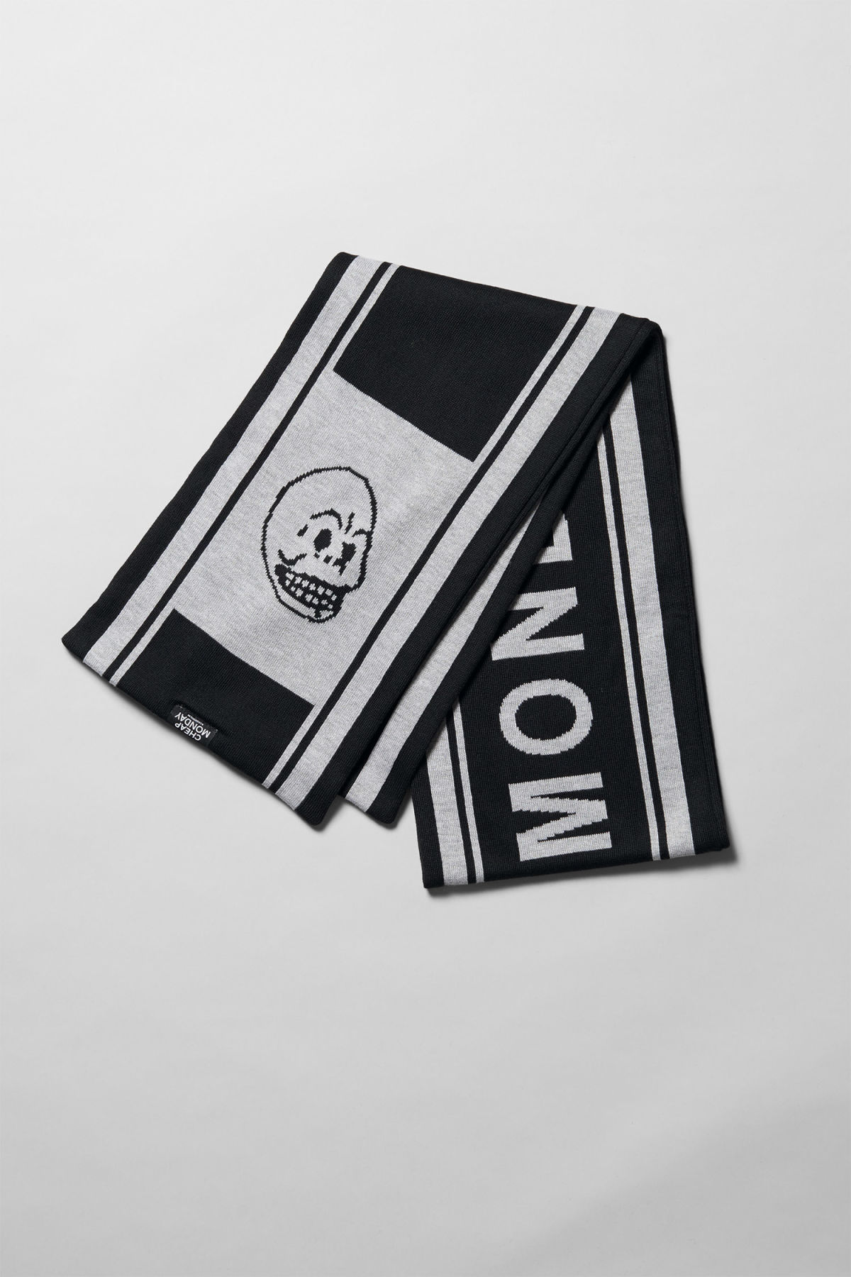 Front image of Weekday cheap logo scarf in black