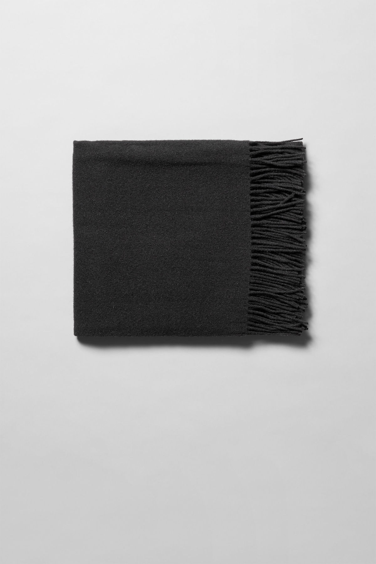 Front image of Weekday tuva wool shawl  in black