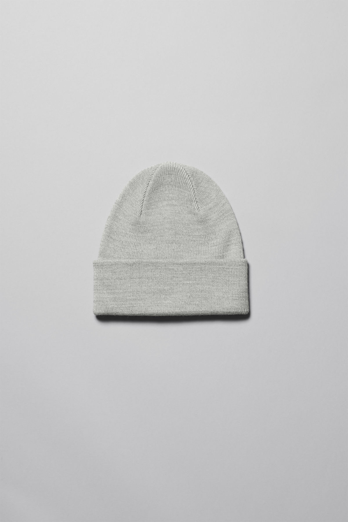 Front image of Weekday hero knit beanie in grey
