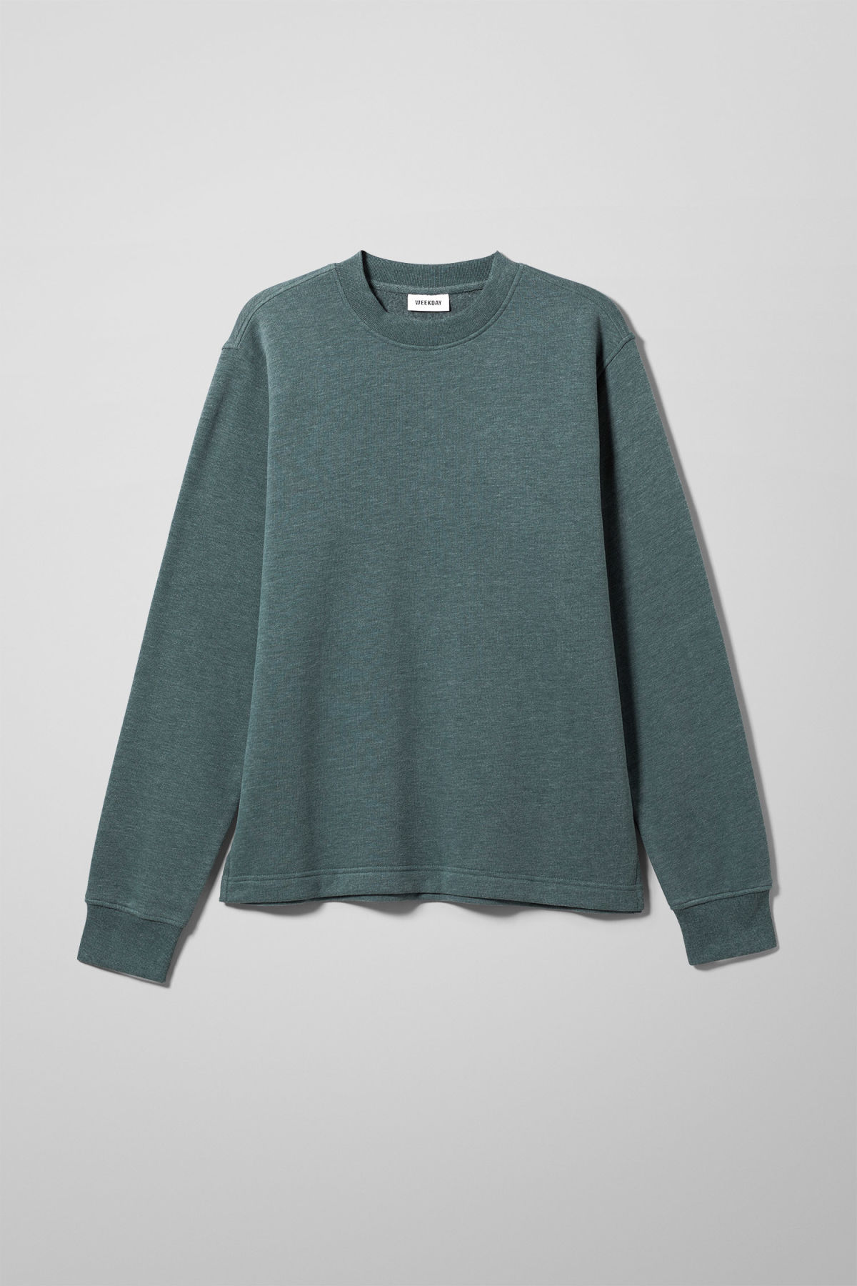 Front image of Weekday score sweatshirt in turquoise