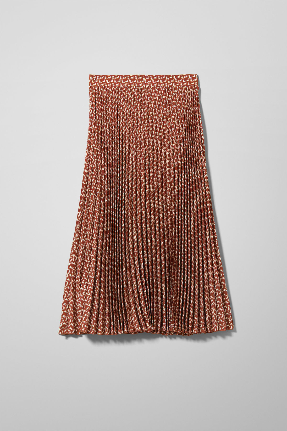 Front image of Weekday valentin pleated skirt in orange