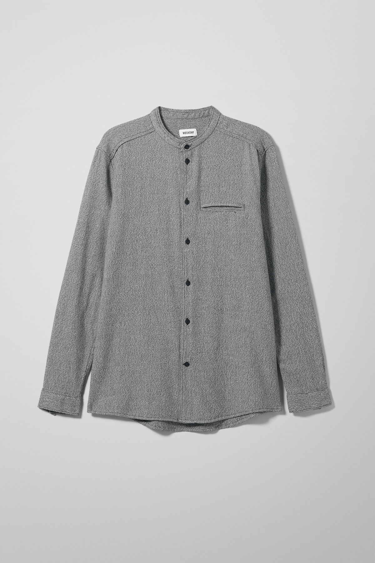 Front image of Weekday hunt salt and pepper shirt in black