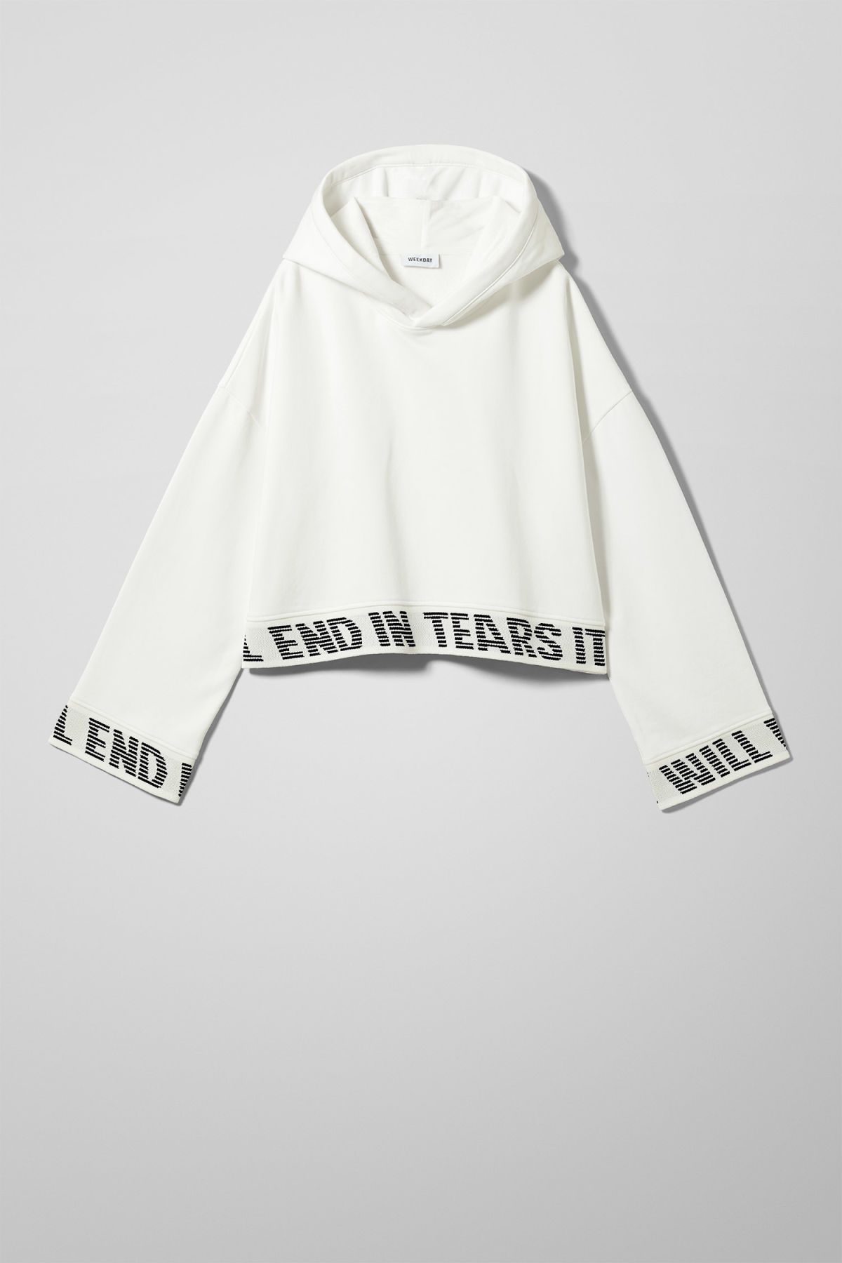 Front image of Weekday enter sweatshirt in white
