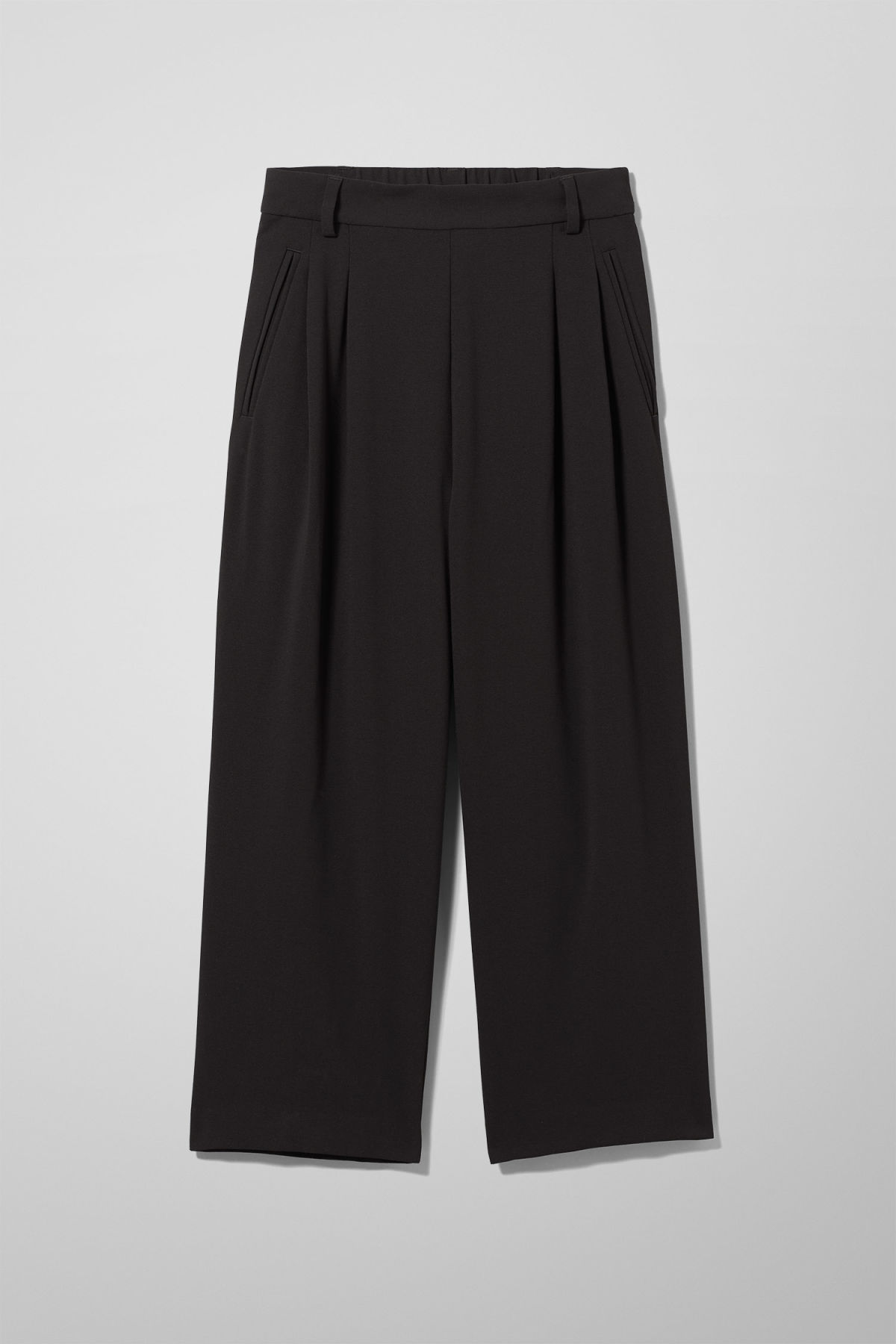 Front image of Weekday suki trousers in black