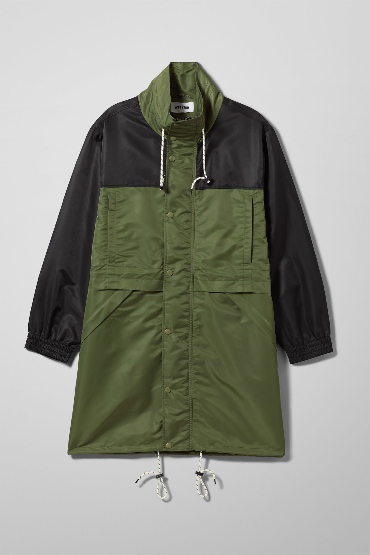 Front image of Weekday erik parka in green