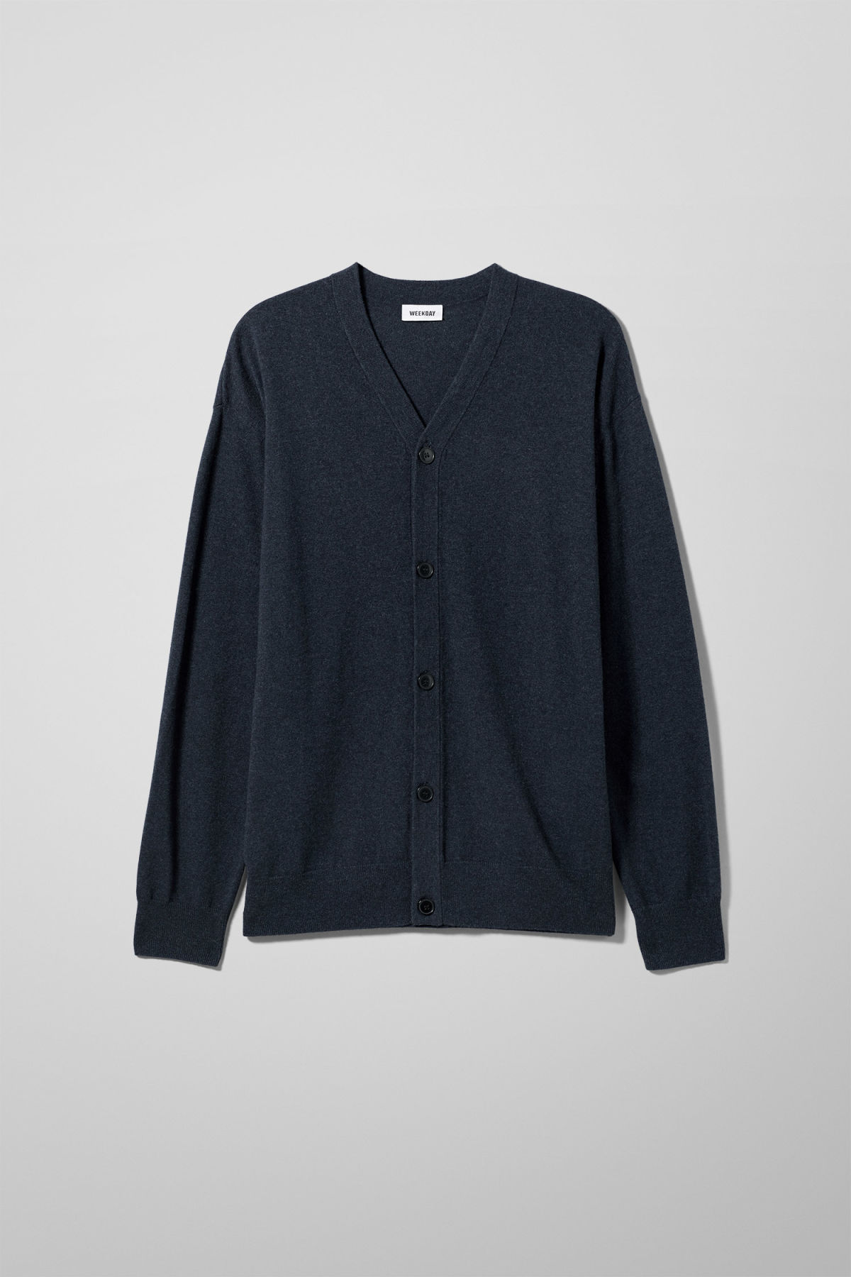 Front image of Weekday morgan cardigan in blue