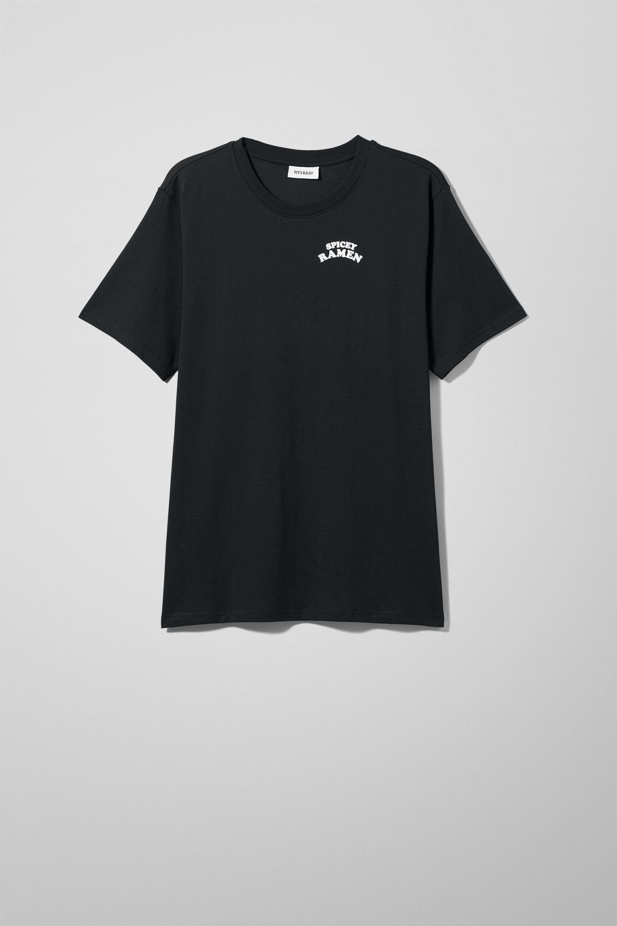 Front image of Weekday frank ramen t-shirt in black
