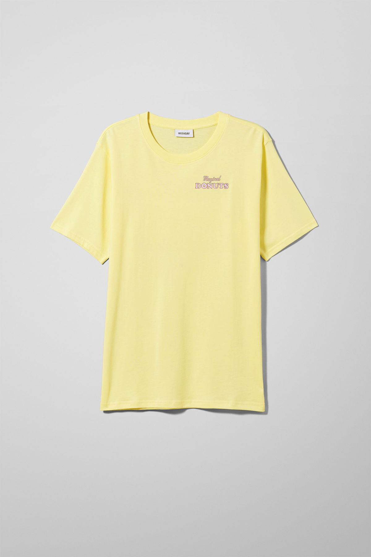 Front image of Weekday frank donuts t-shirt in yellow