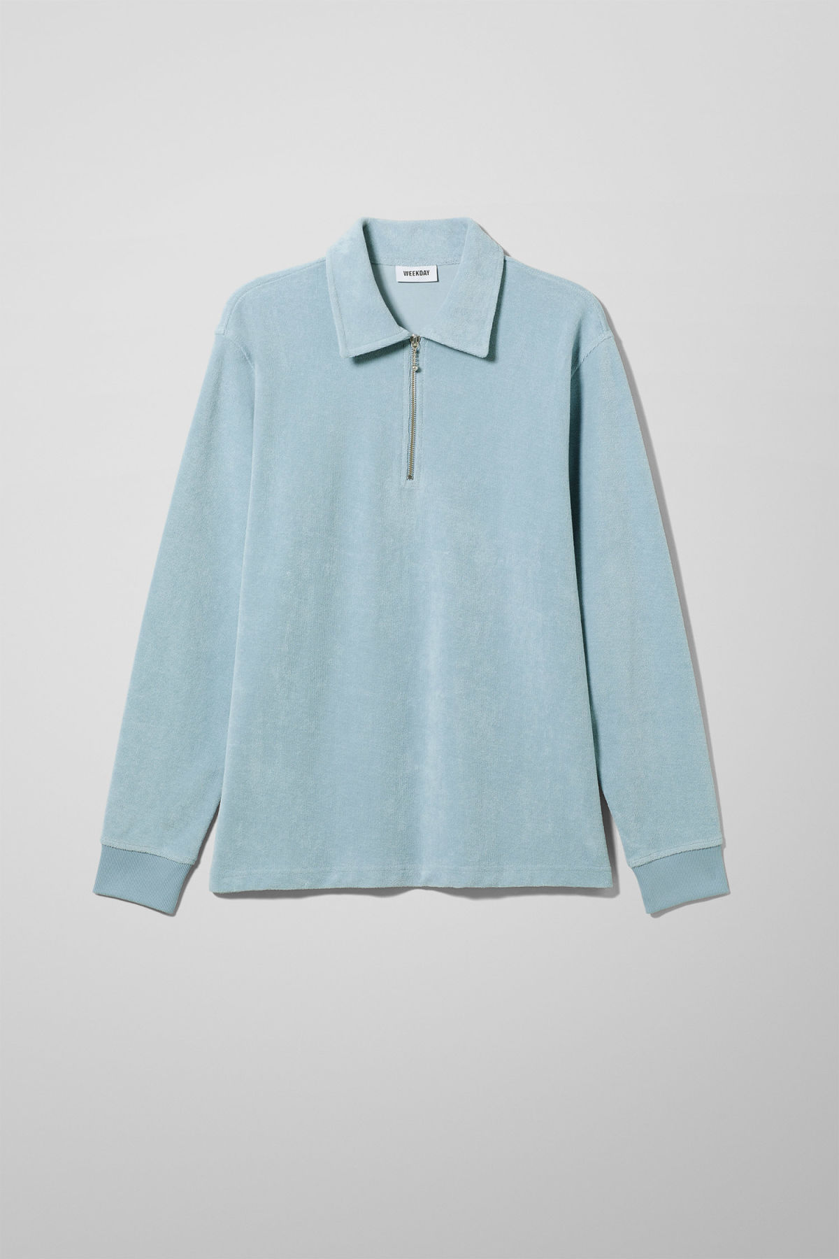 Front image of Weekday timo half zip sweatshirt in blue