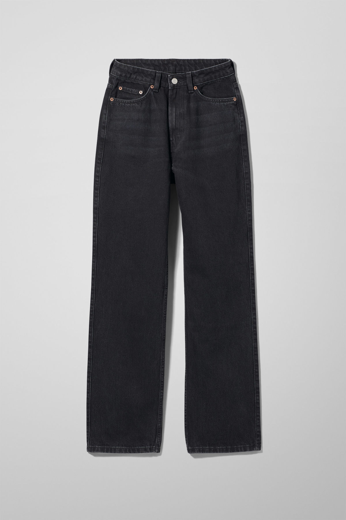 Front image of Weekday row echo black jeans in black