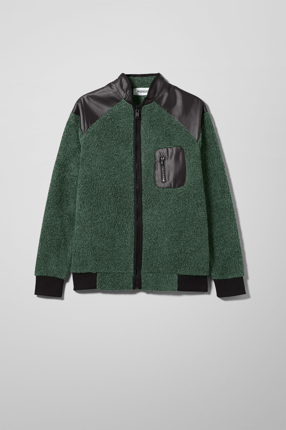 Front image of Weekday mont zip sweatshirt in green